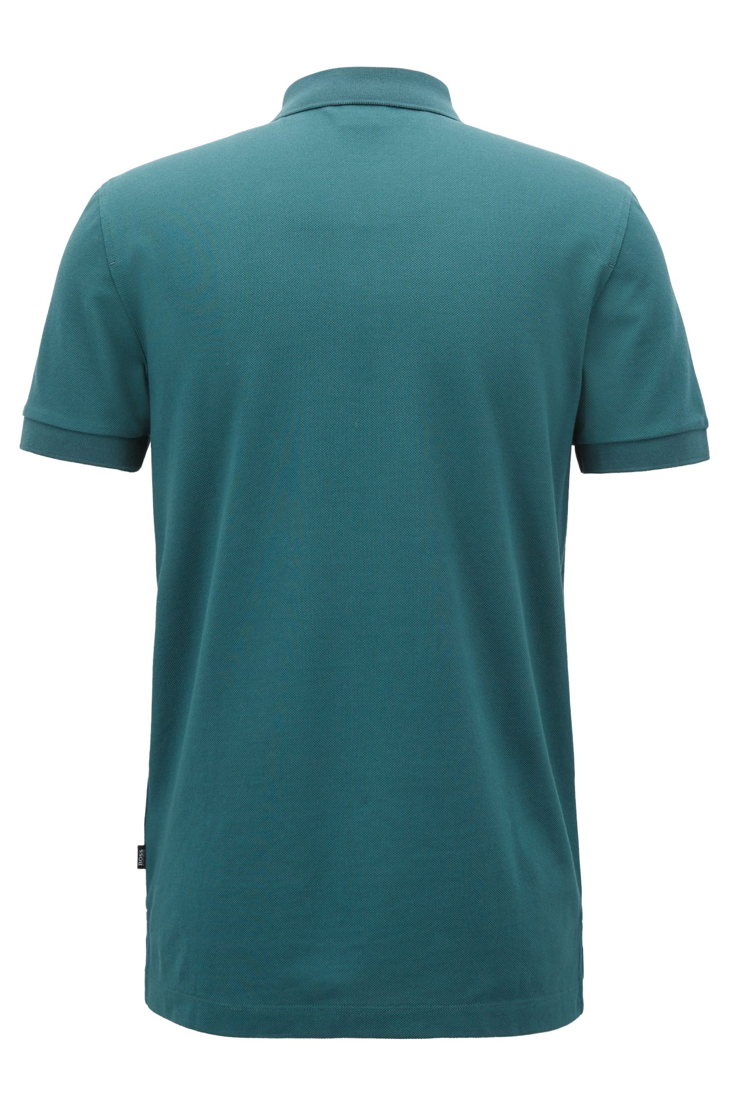 Slim-fit polo shirt in cotton piqué with colourblock collar, Dark Green