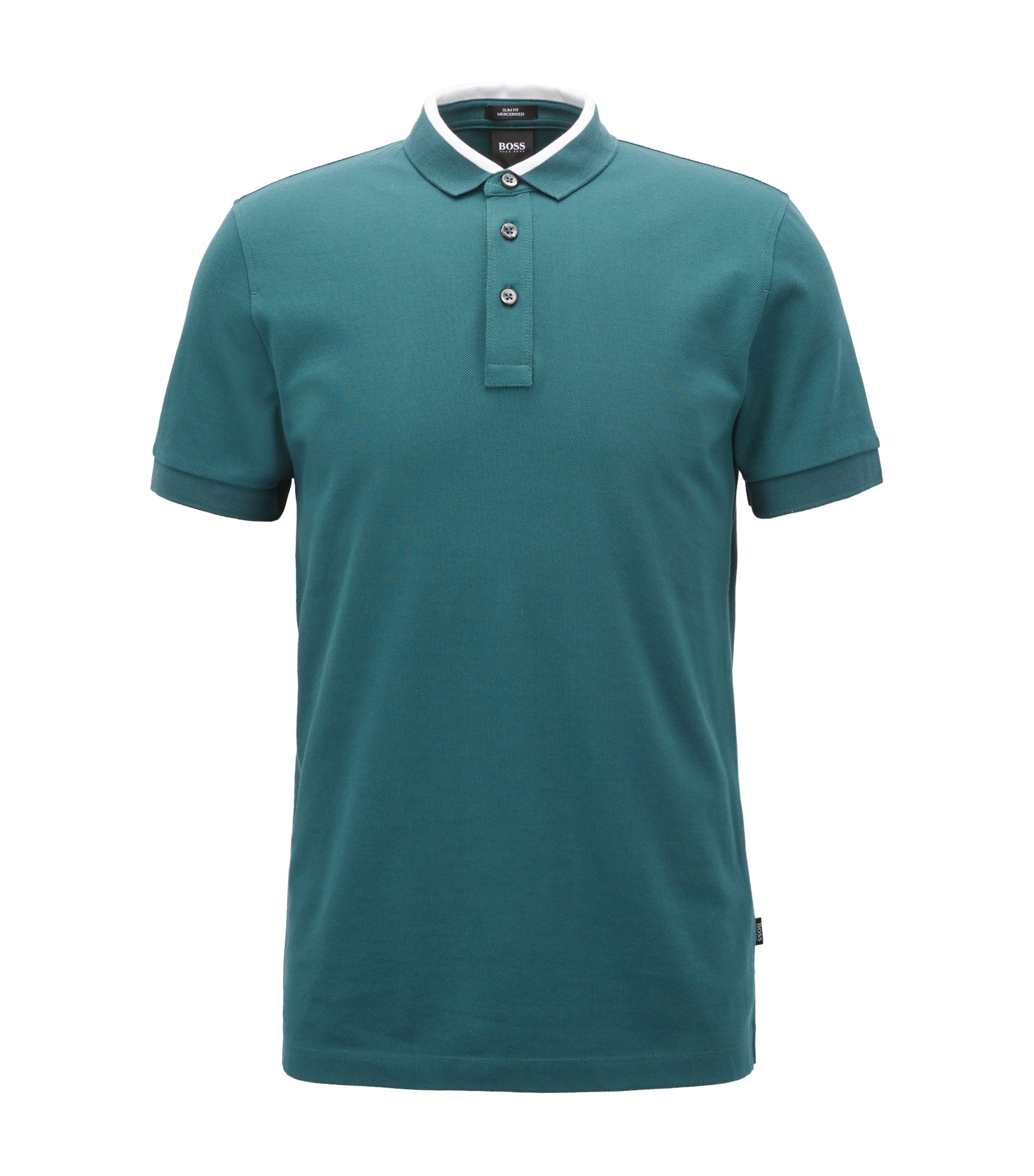 Polo Slim Fit en piqué de coton à col color block, Vert sombre