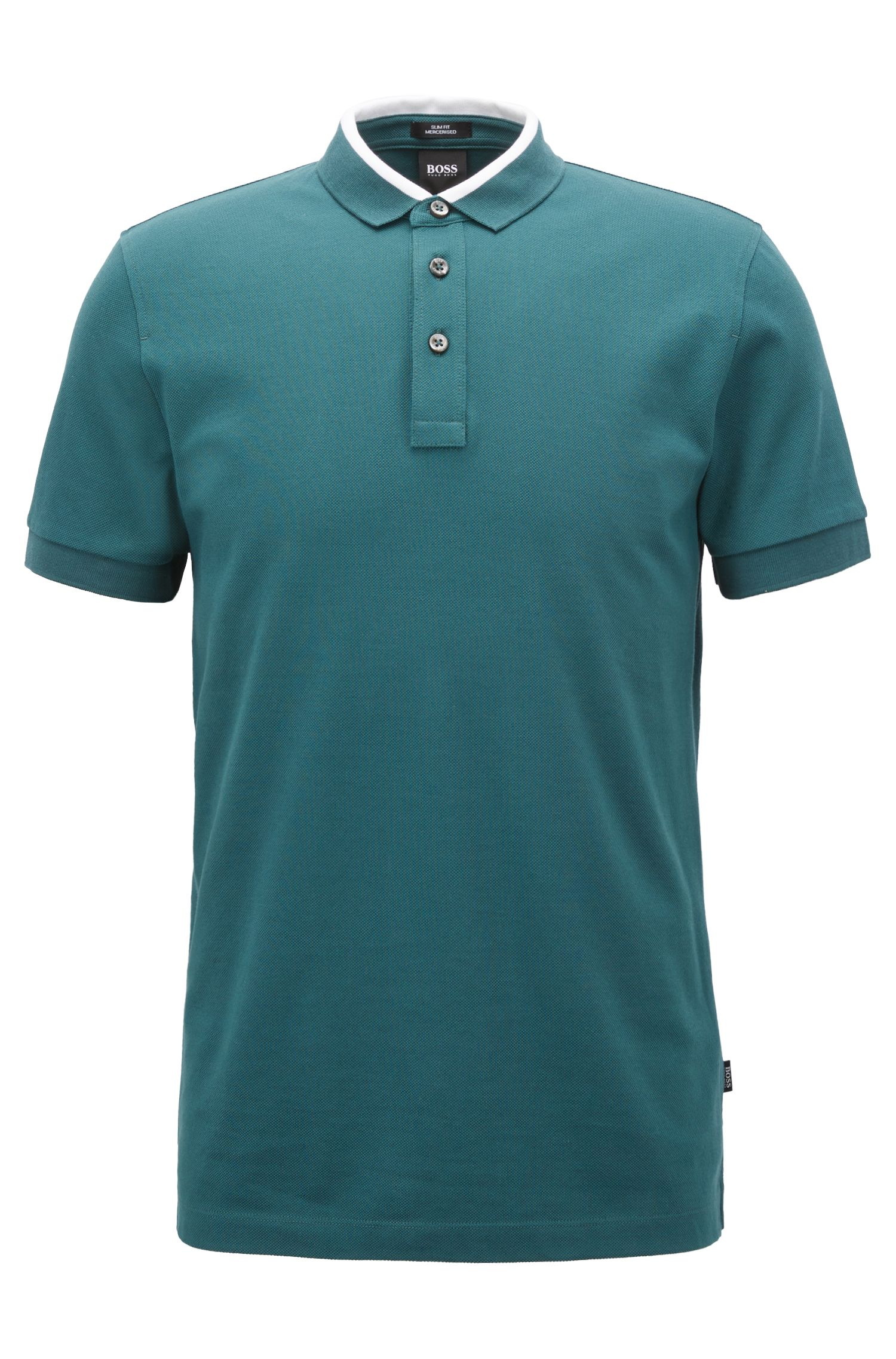 Slim-fit polo shirt in cotton piqué with colourblock collar
