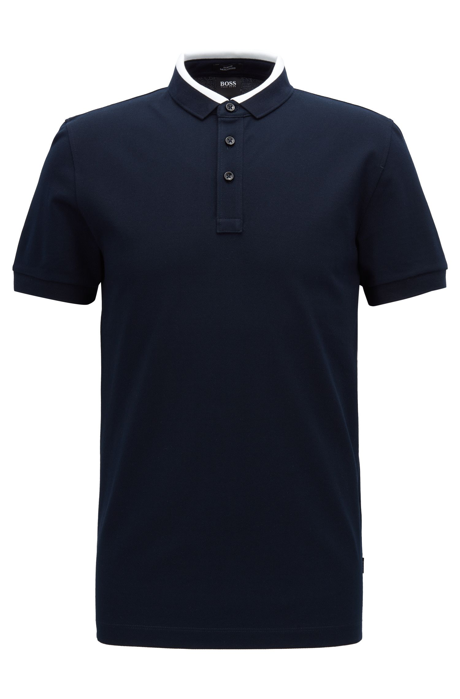 Slim-fit polo shirt in cotton piqué with colourblock collar, Blue