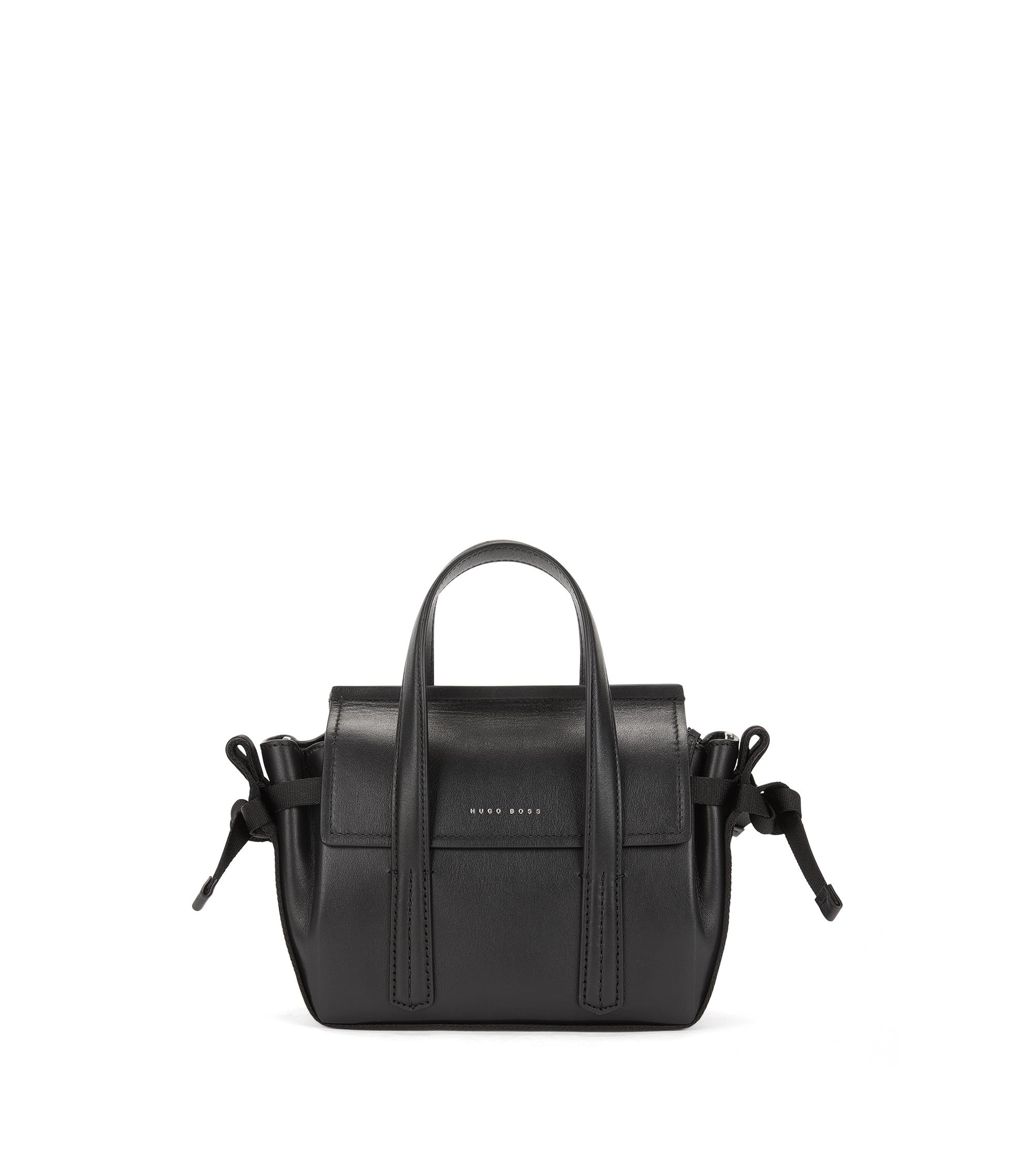 Tie-detail leather tote bag, Black