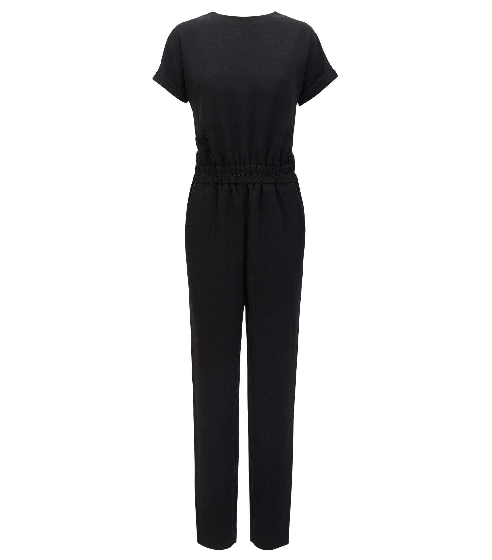 Short-sleeved jumpsuit in soft crêpe, Black