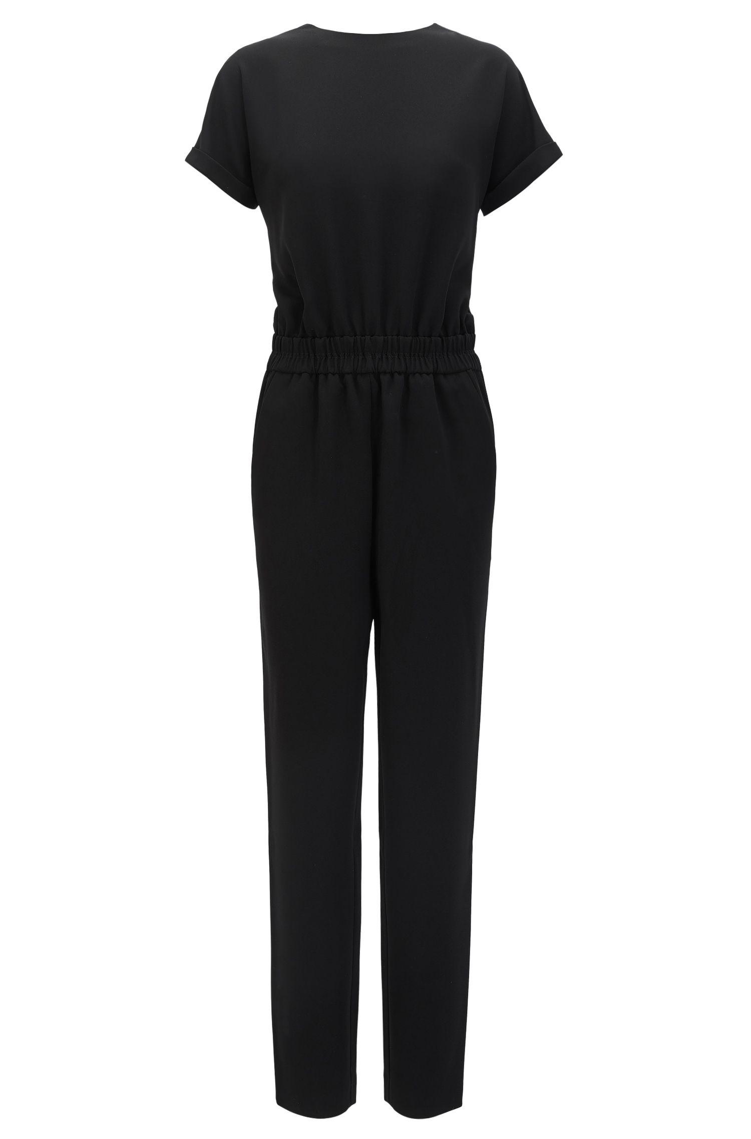 Short-sleeved jumpsuit in soft crêpe