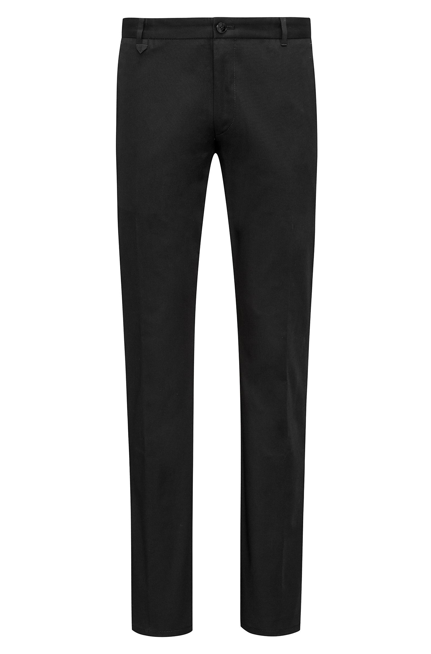 Extra-slim-fit stretch-cotton trousers with signature detailing, Black