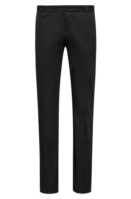 Pantalon Extra Slim Fit en coton stretch à détail emblématique, Noir
