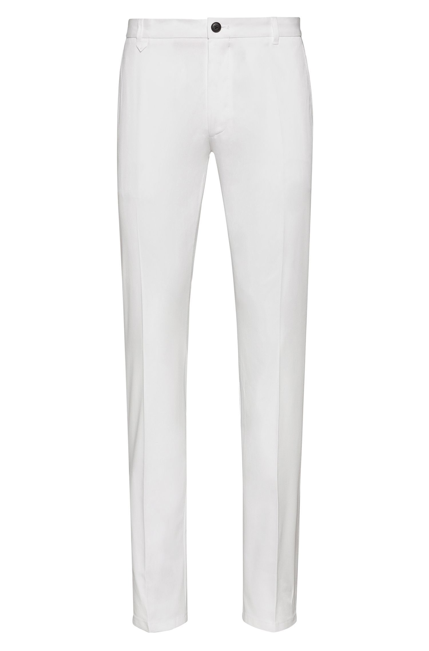 Extra-slim-fit stretch-cotton trousers with signature detailing, White