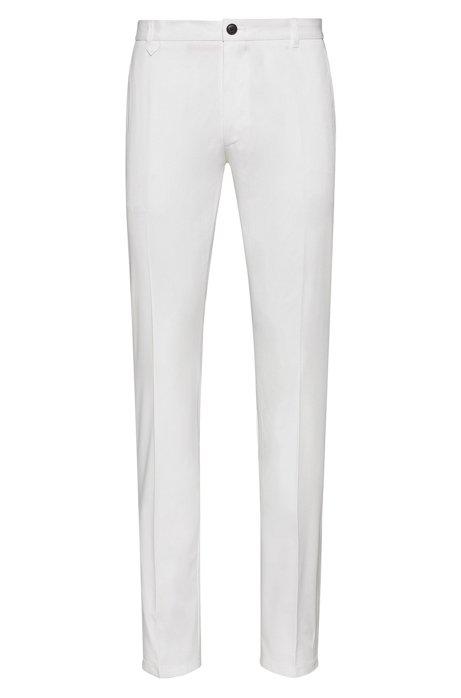 Pantalones extra slim fit en algodón elástico con detalle característico, Blanco