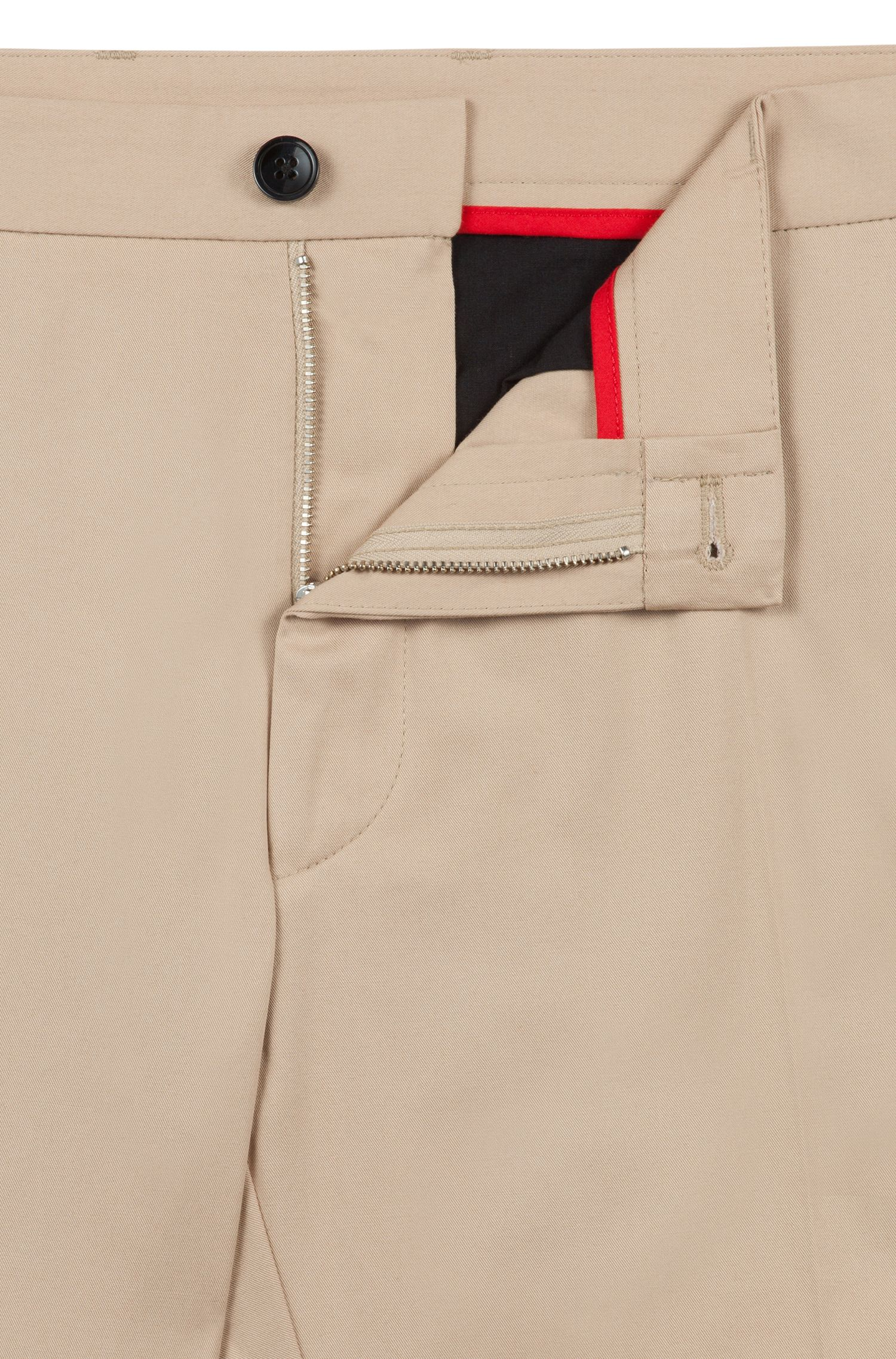 Extra-slim-fit stretch-cotton trousers with signature detailing, Beige