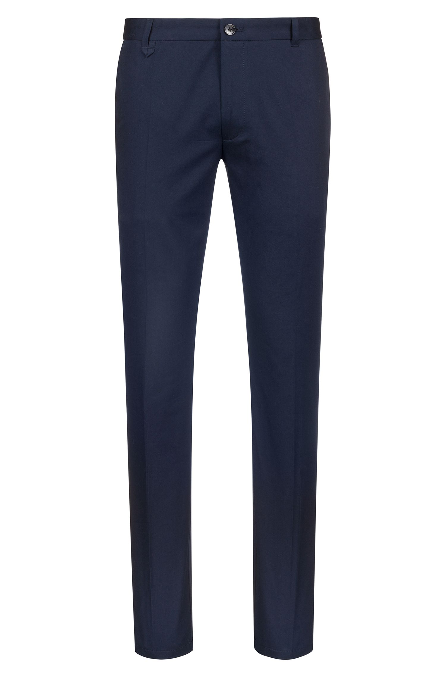 Extra-slim-fit stretch-cotton trousers with signature detailing, Dark Blue