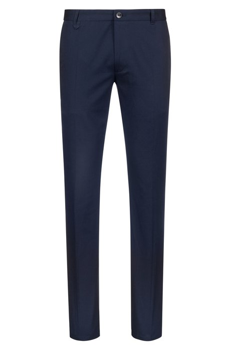 Pantalon Extra Slim Fit en coton stretch à détail emblématique, Bleu foncé