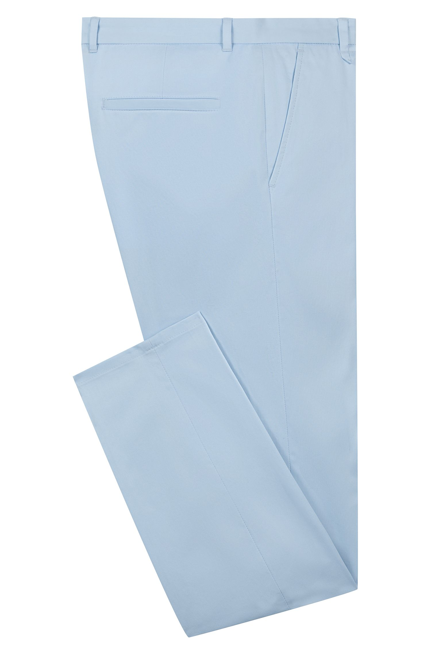 Extra-slim-fit stretch-cotton trousers with signature detailing, Light Blue