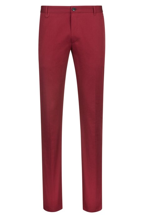 Extra slim-fit broek van stretchkatoen met kenmerkende details, Donkerrood