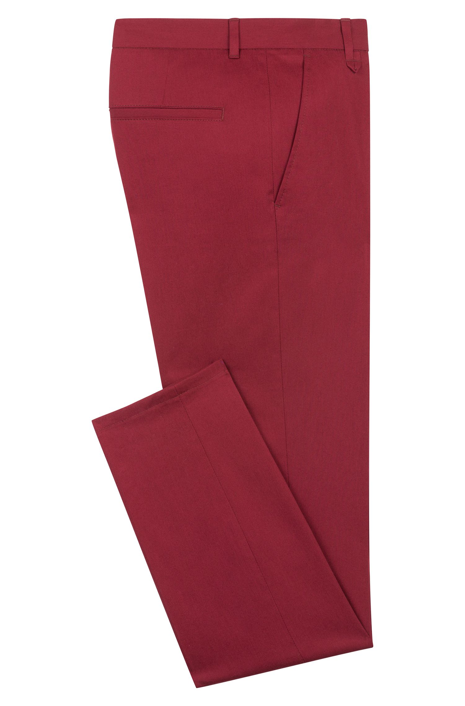 Extra-slim-fit stretch-cotton trousers with signature detailing, Dark Red