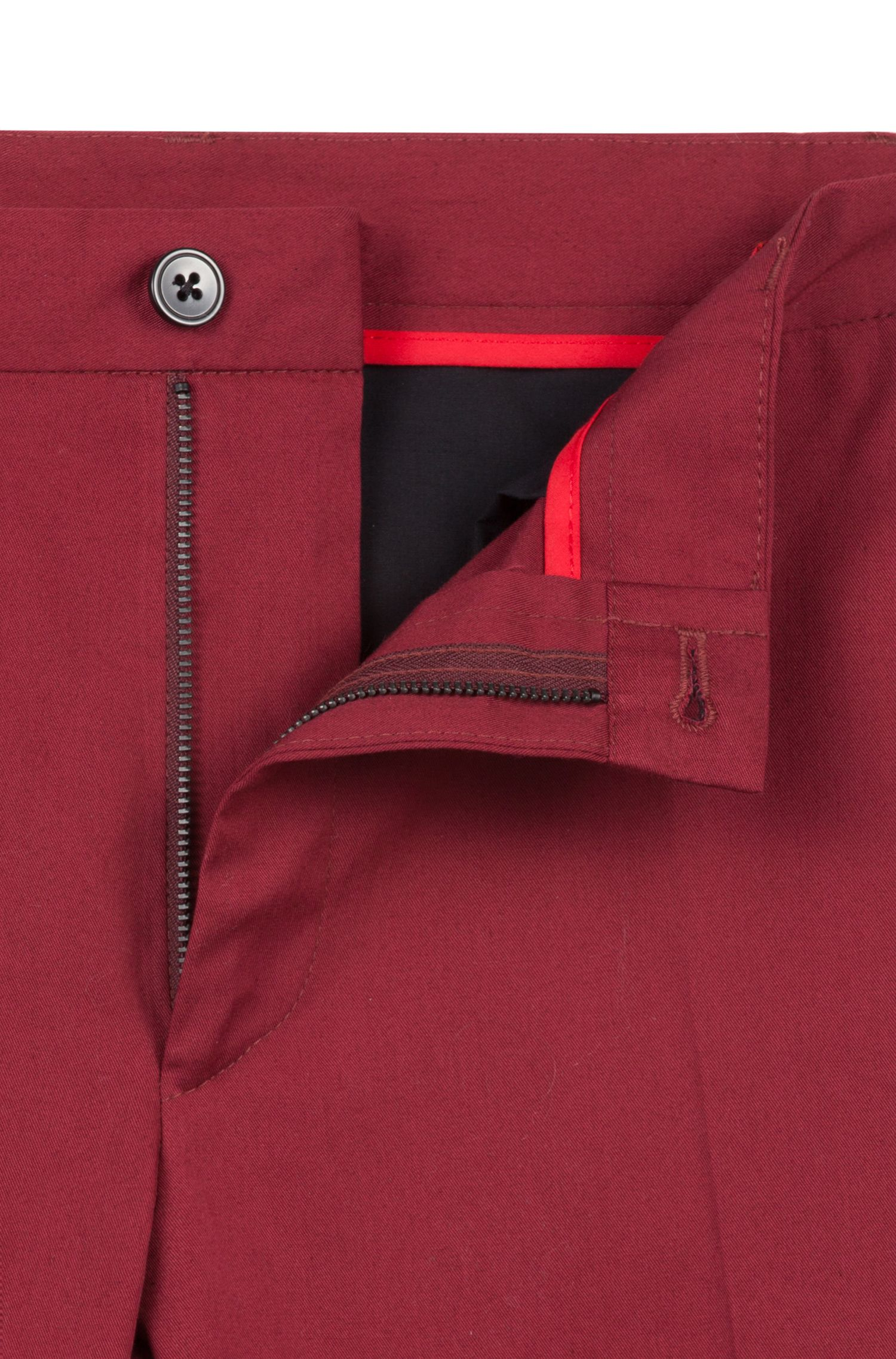 Pantaloni extra slim fit in cotone elasticizzato con dettagli esclusivi, Rosso scuro