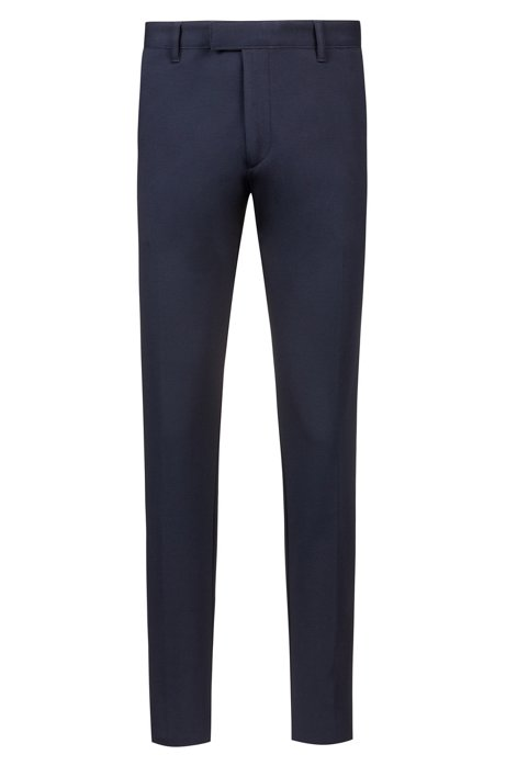 Raw-edge extra-slim-fit chinos in stretch jersey, Dark Blue