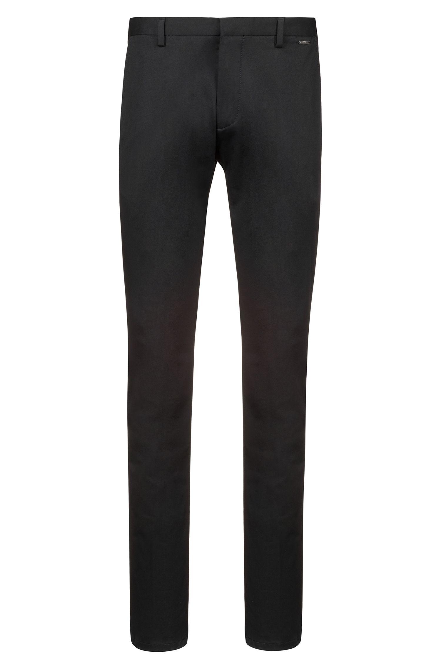 Pantalones slim fit en tejido de gabardina de algodón elástico ligero, Negro