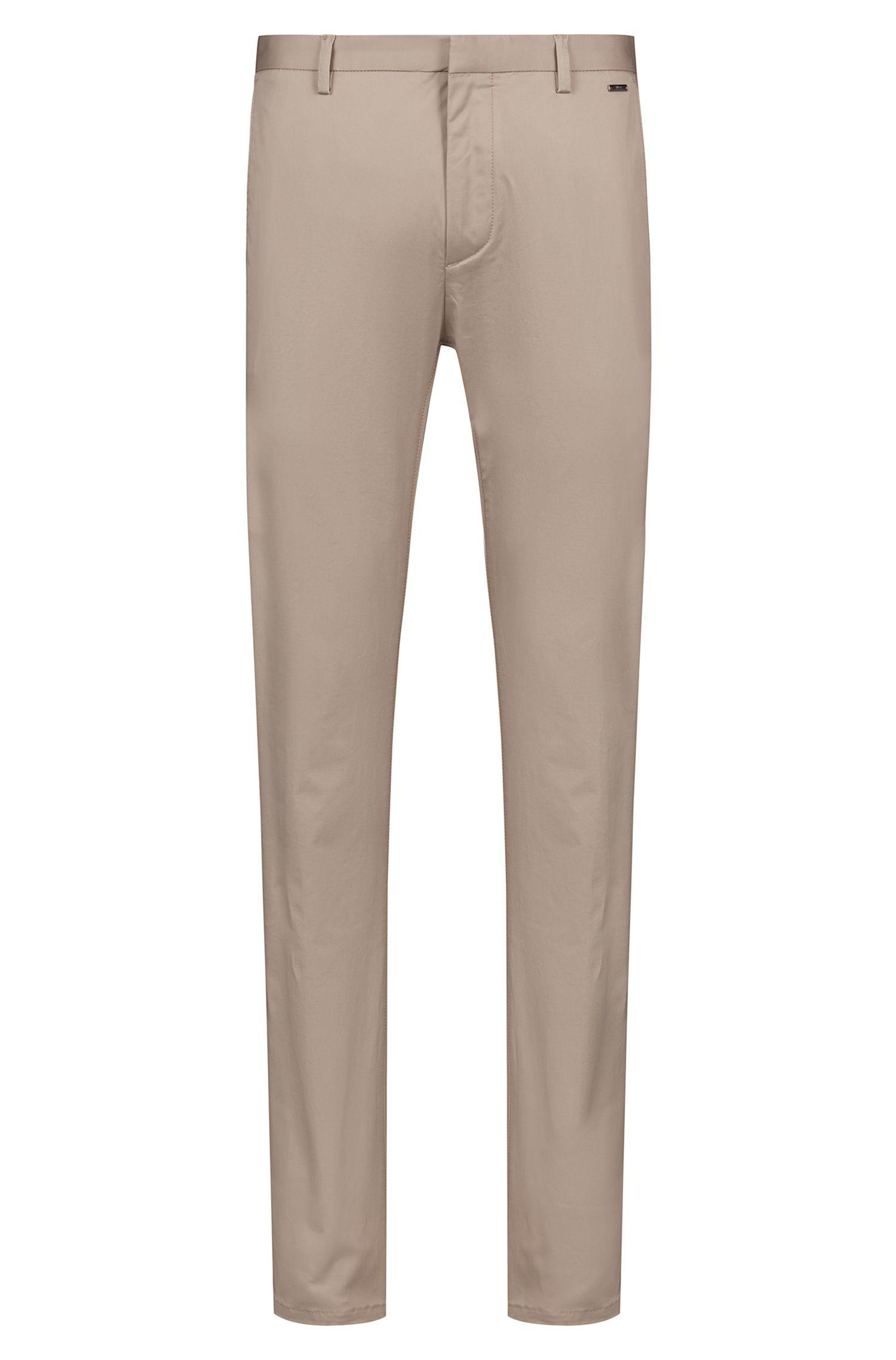 Slim-fit trousers in lightweight stretch-cotton gabardine, Beige