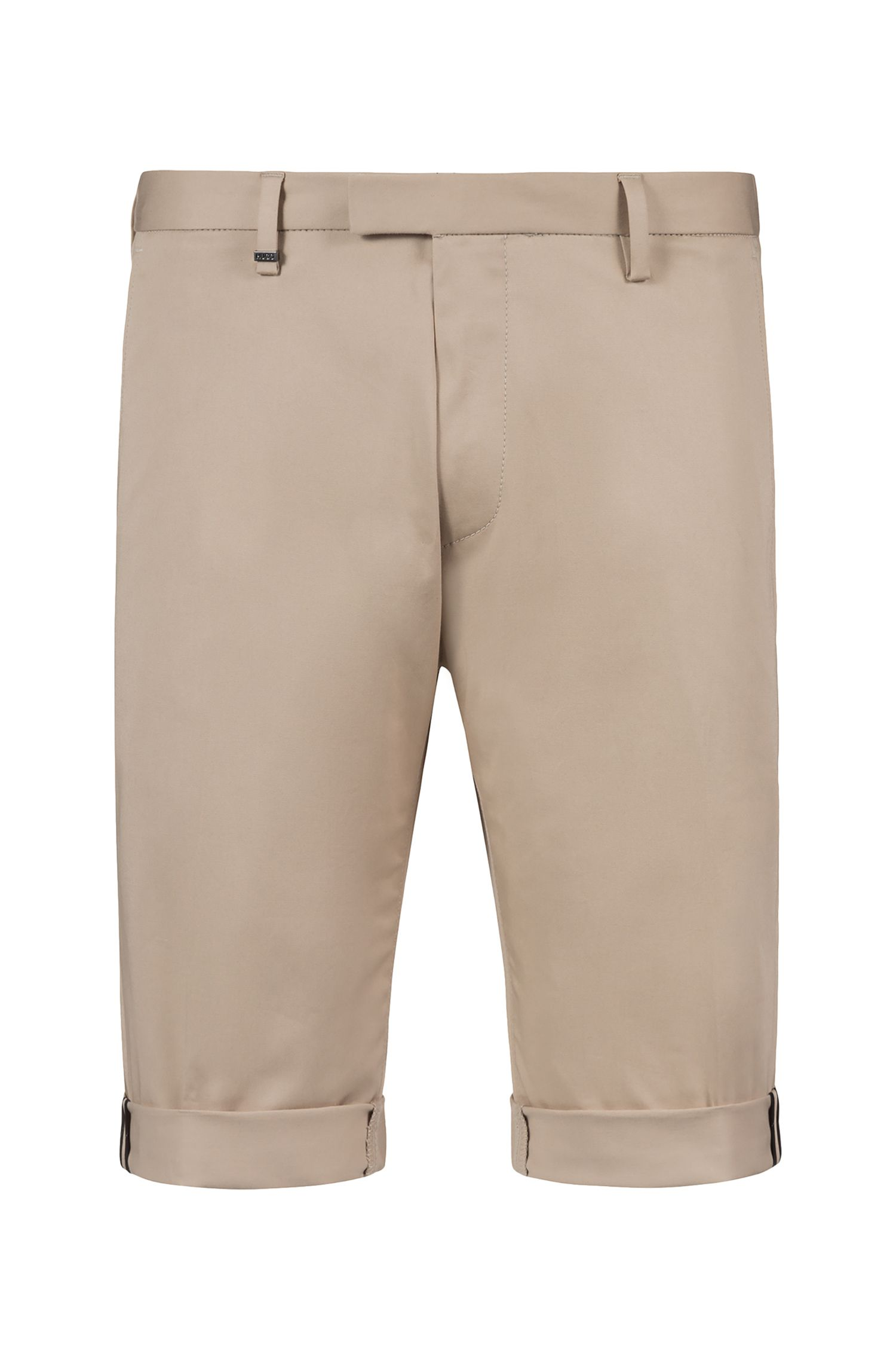 Short Slim Fit en gabardine de coton stretch à motif, Beige