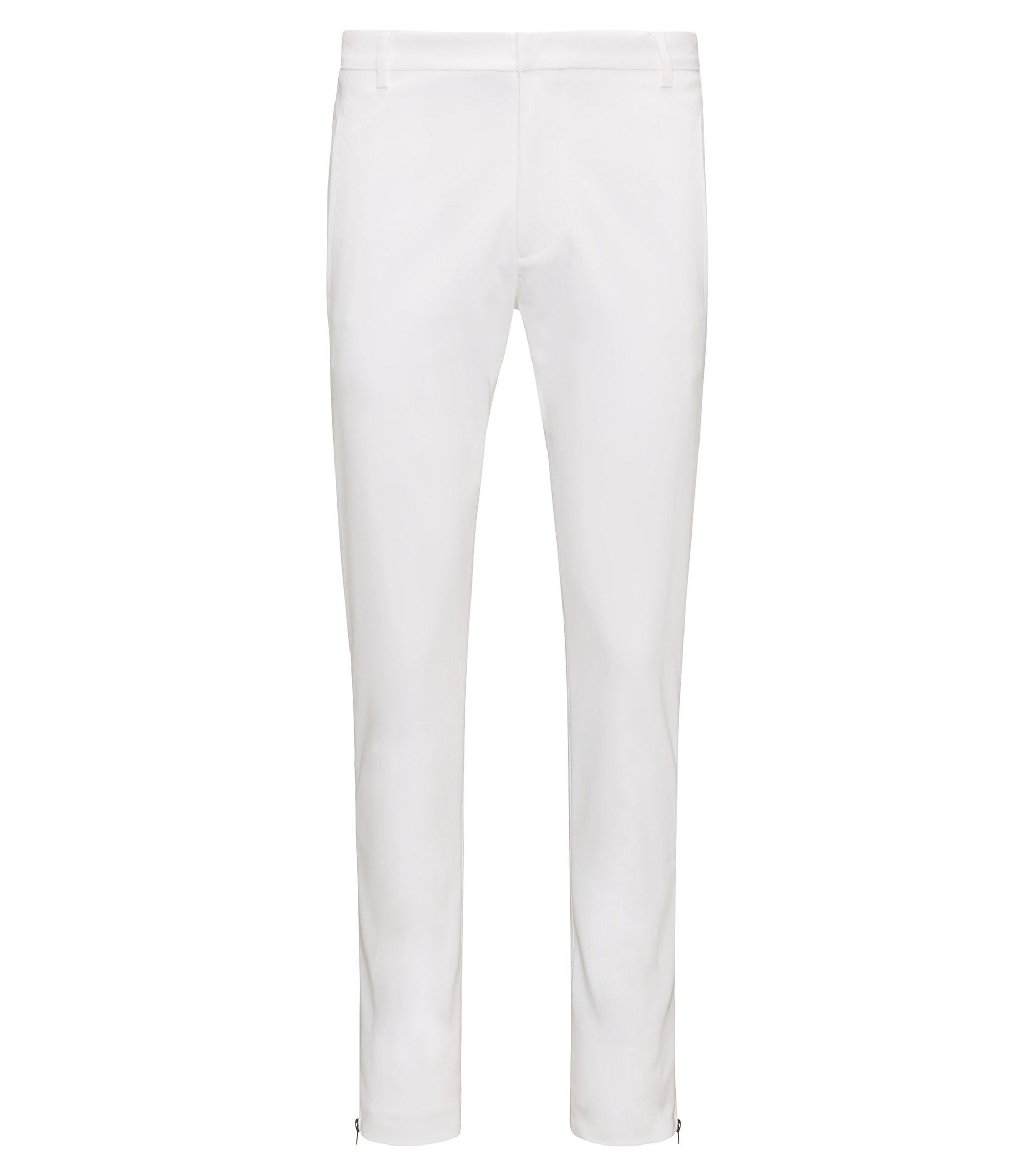 Extra Slim-Fit Hose aus Baumwoll-Mix mit Reißverschluss-Details, Weiß