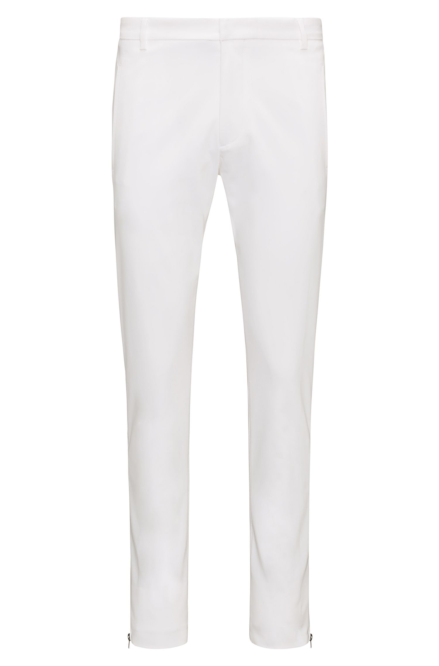 Extra-slim-fit cotton-blend trousers with zipped legs, White