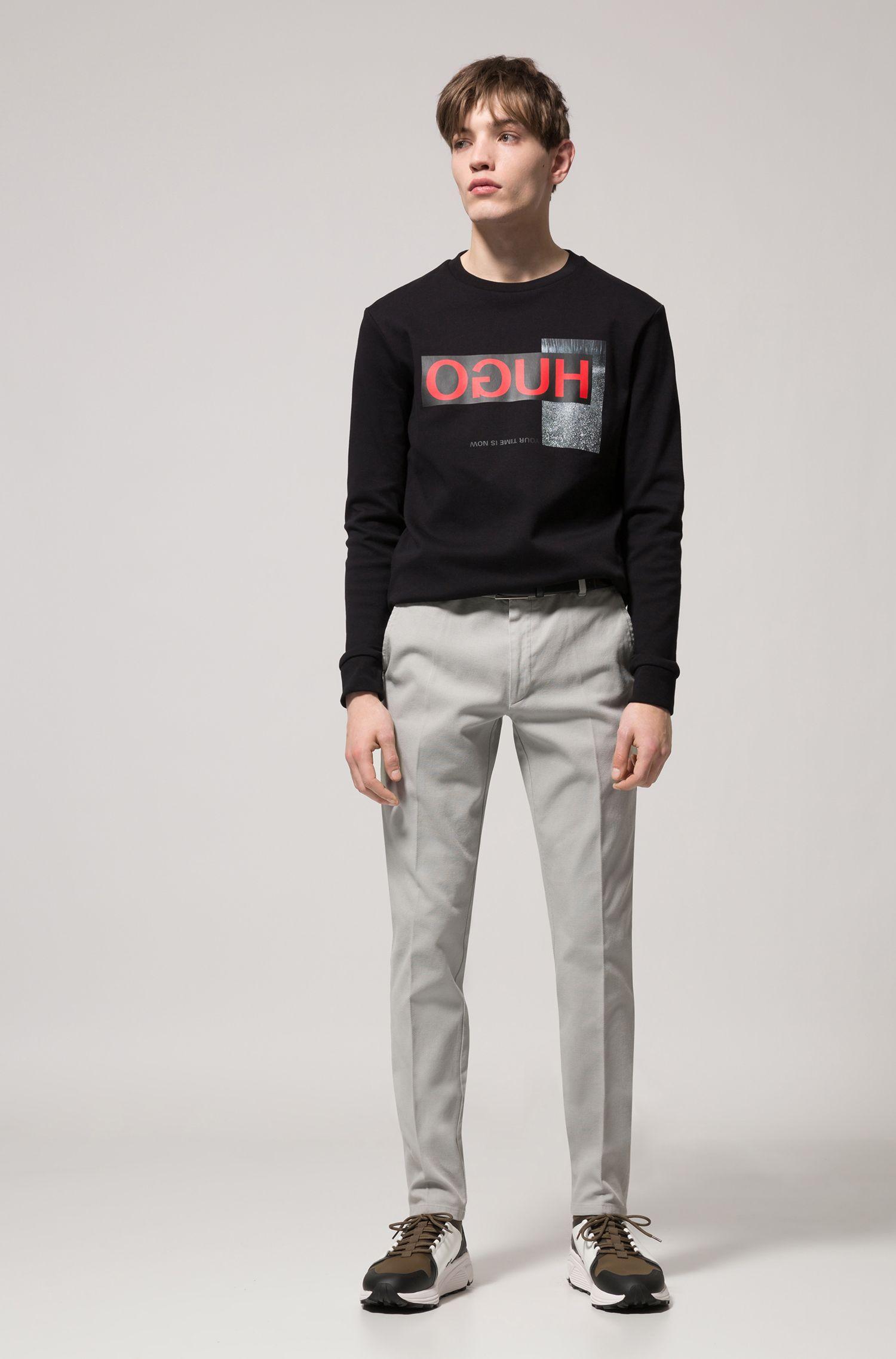 Pantalon extra slim fit en coton stretch à effet mesh