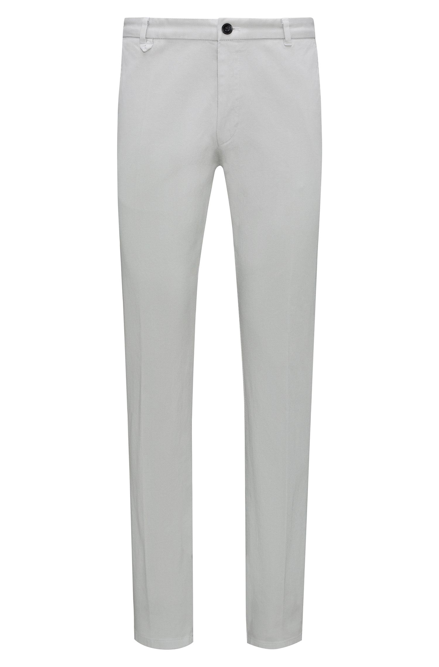Extra-slim-fit stretch-cotton trousers with mesh effect, Grey