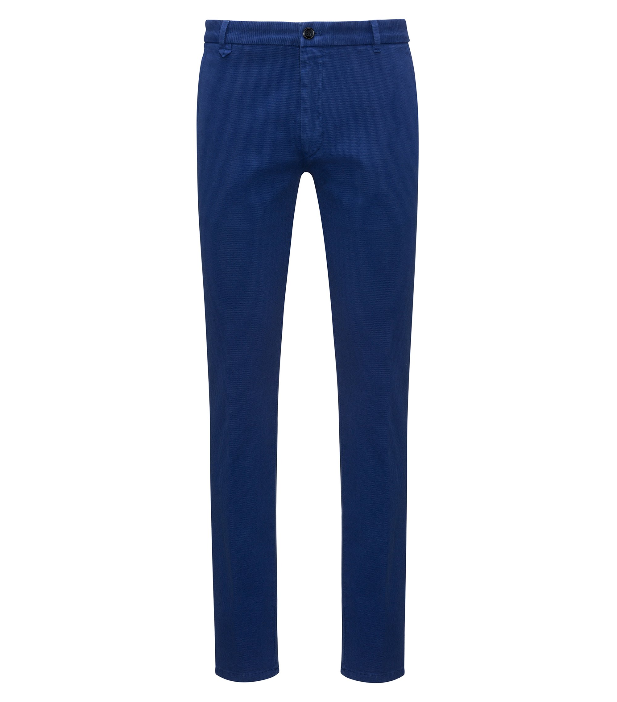 Extra-slim-fit stretch-cotton trousers with mesh effect, Dark Blue