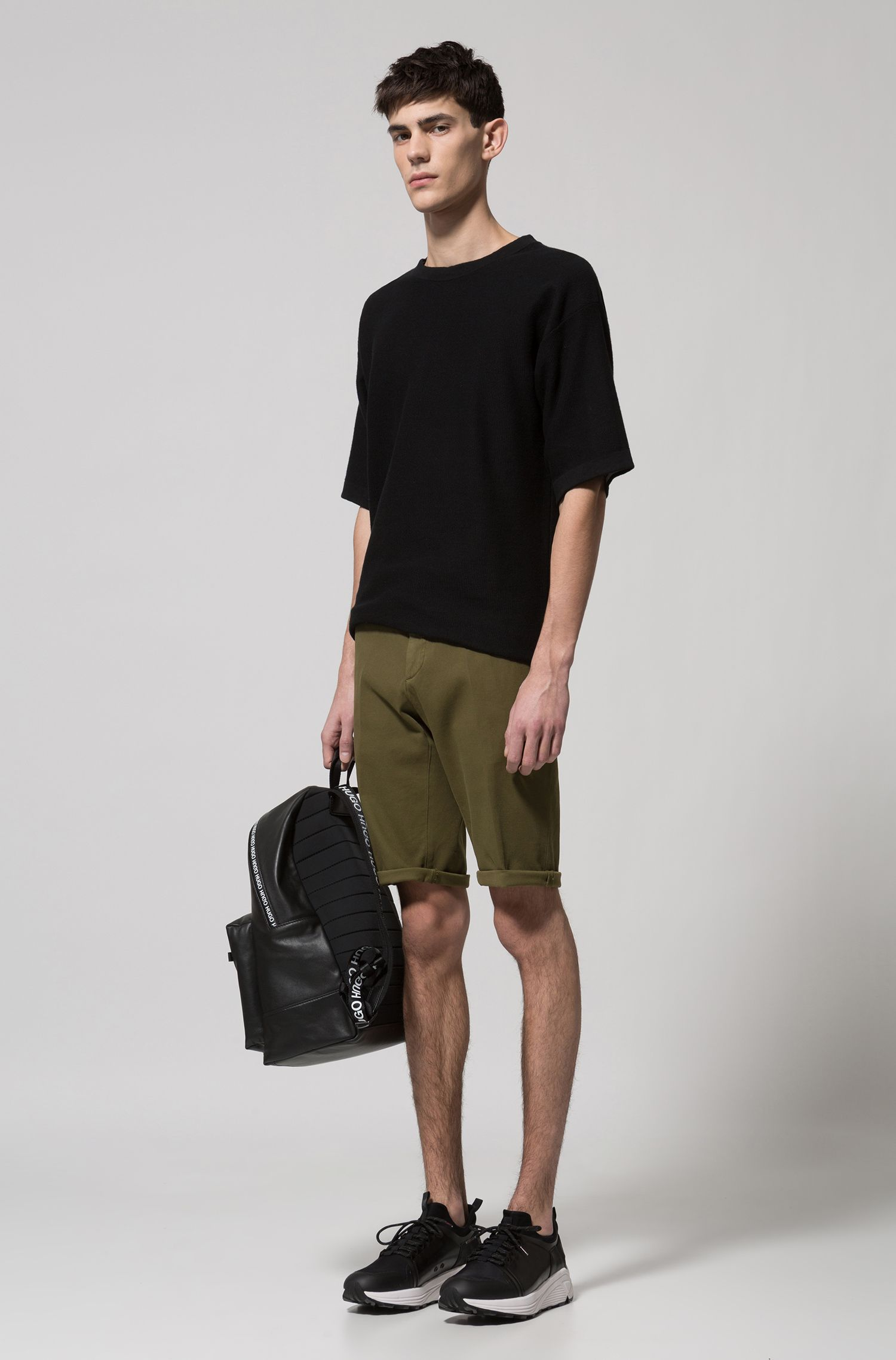 Slim-fit shorts in mesh-structure stretch cotton, Dark Green