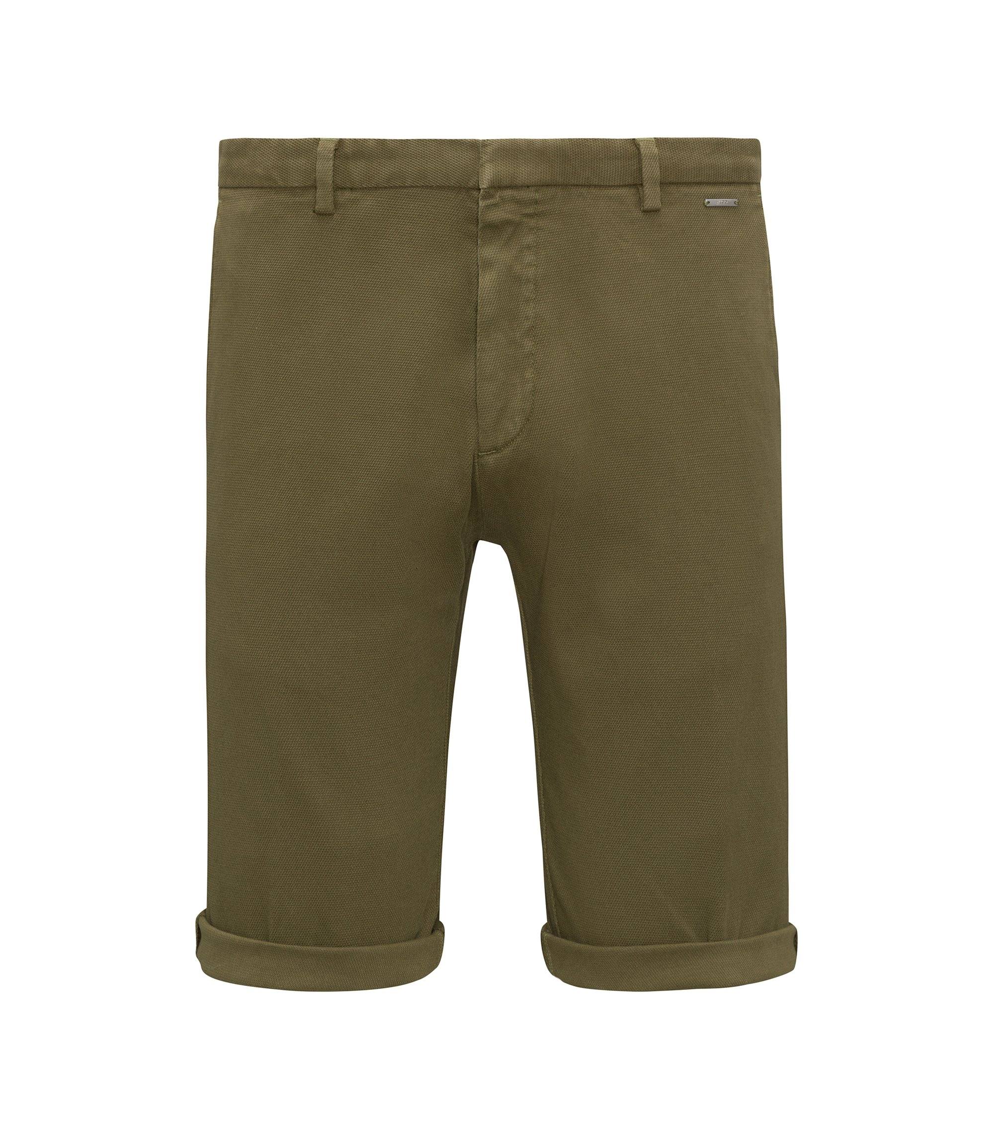 Short Slim Fit en coton stretch à la structure mesh, Vert sombre