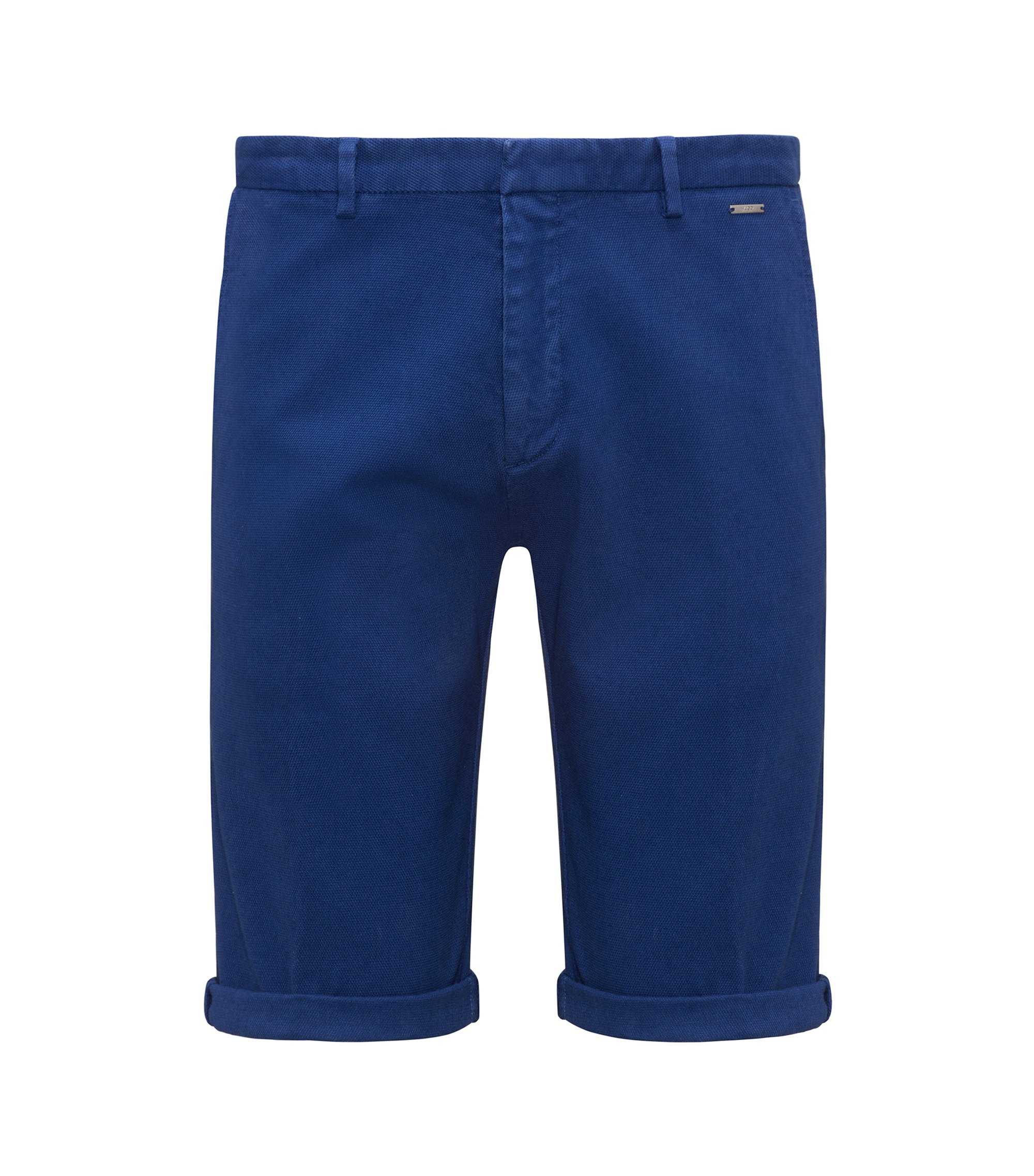 Short Slim Fit en coton stretch à la structure mesh, Bleu foncé