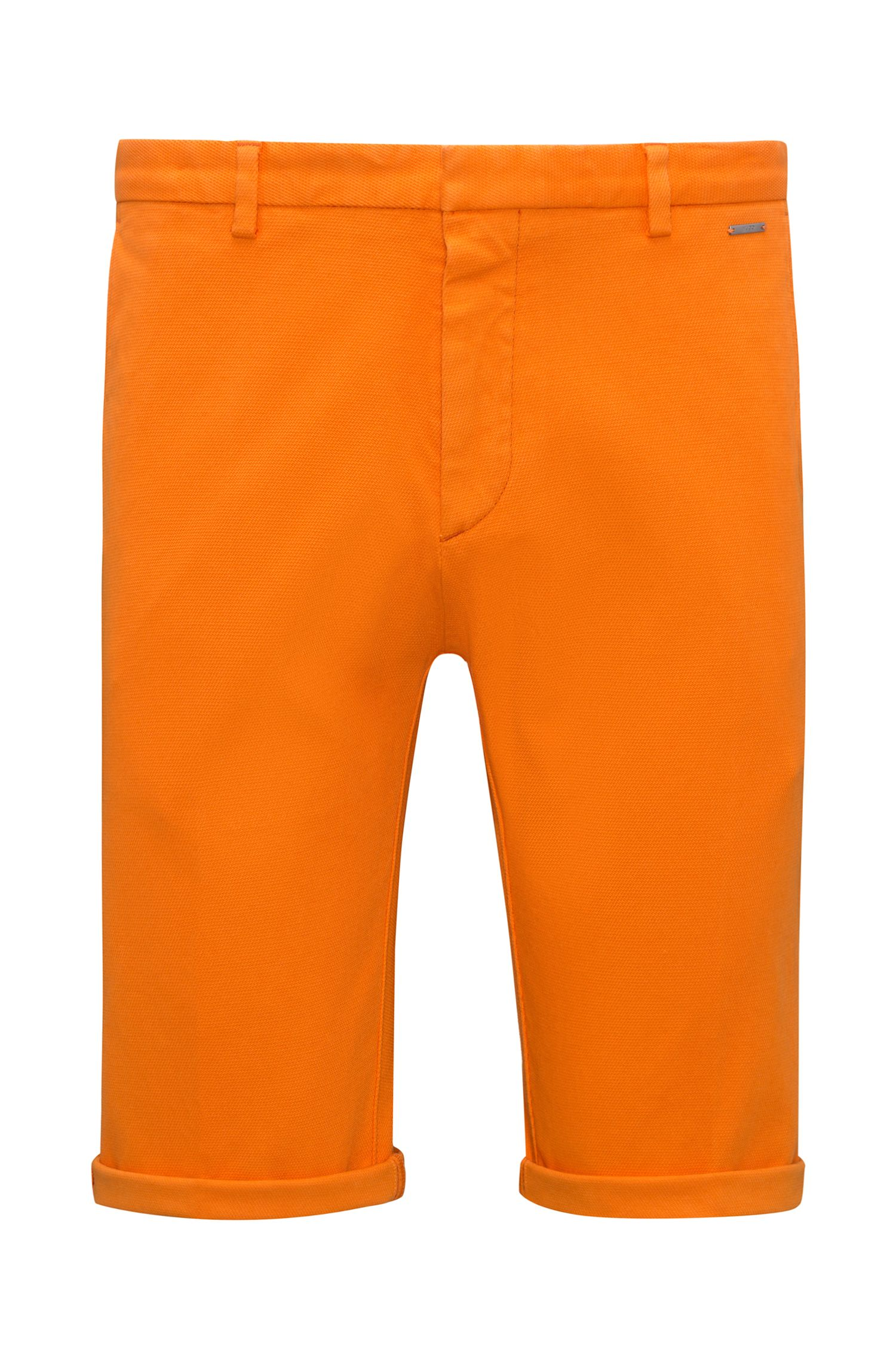 Short Slim Fit en coton stretch à la structure mesh, Orange
