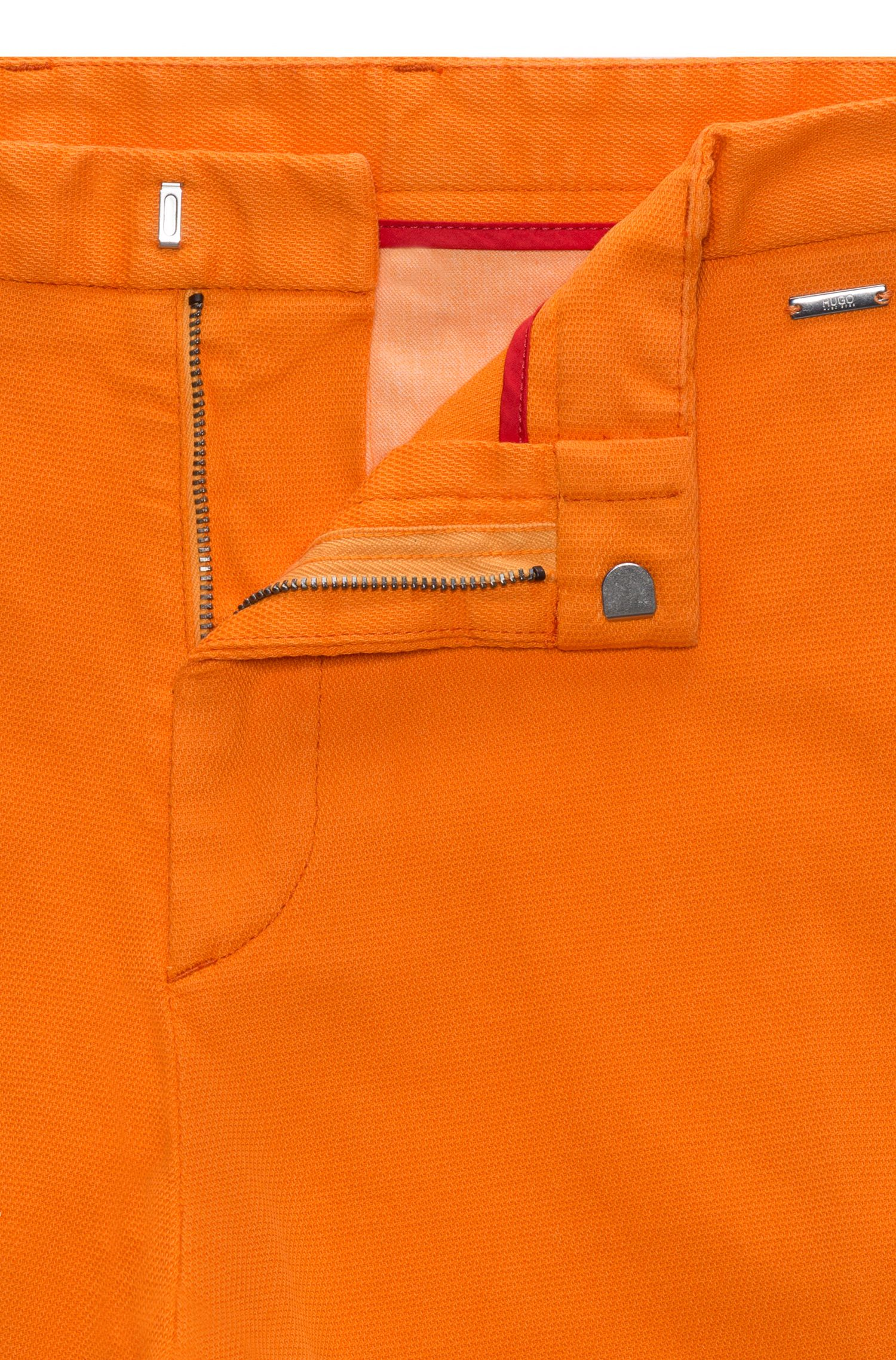 Slim-fit shorts in mesh-structure stretch cotton, Orange