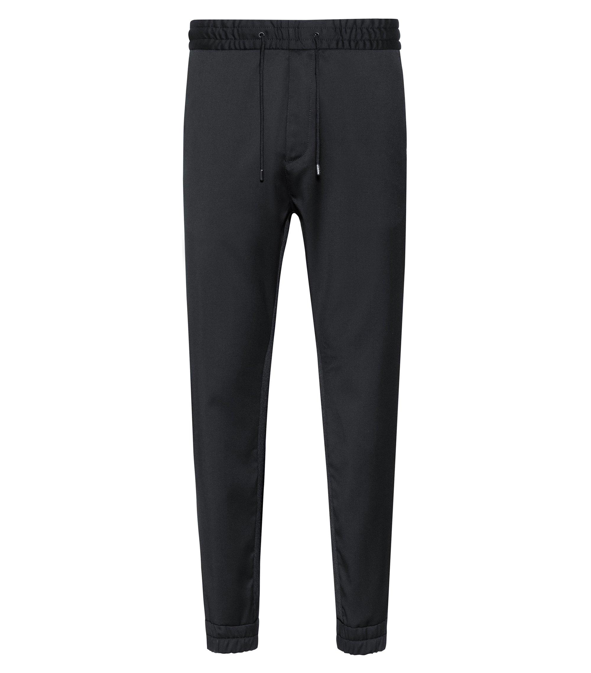 Tapered-fit broek van scheerwol met beenboorden, Zwart