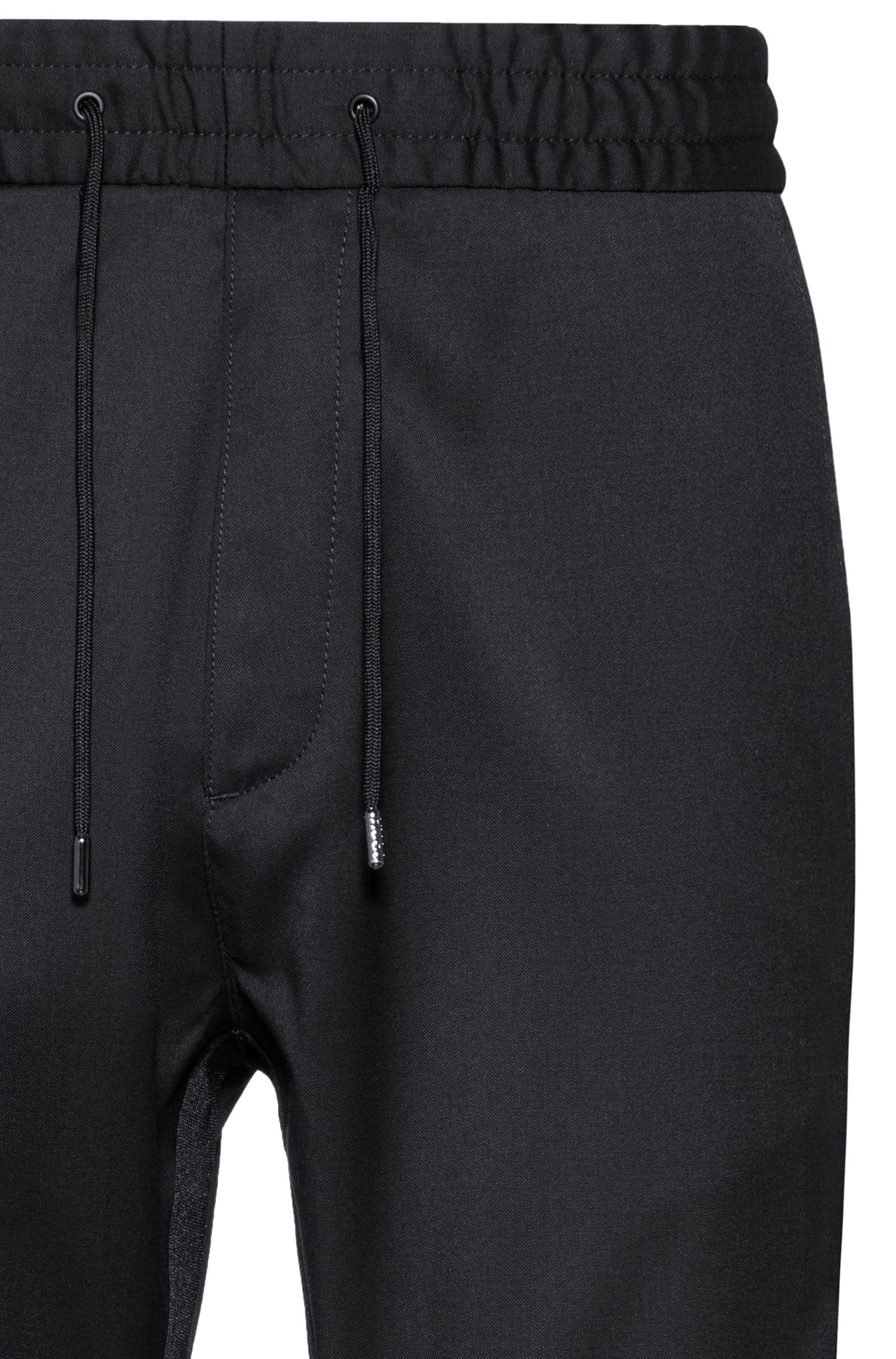 Tapered-fit cuffed trousers in virgin wool, Black