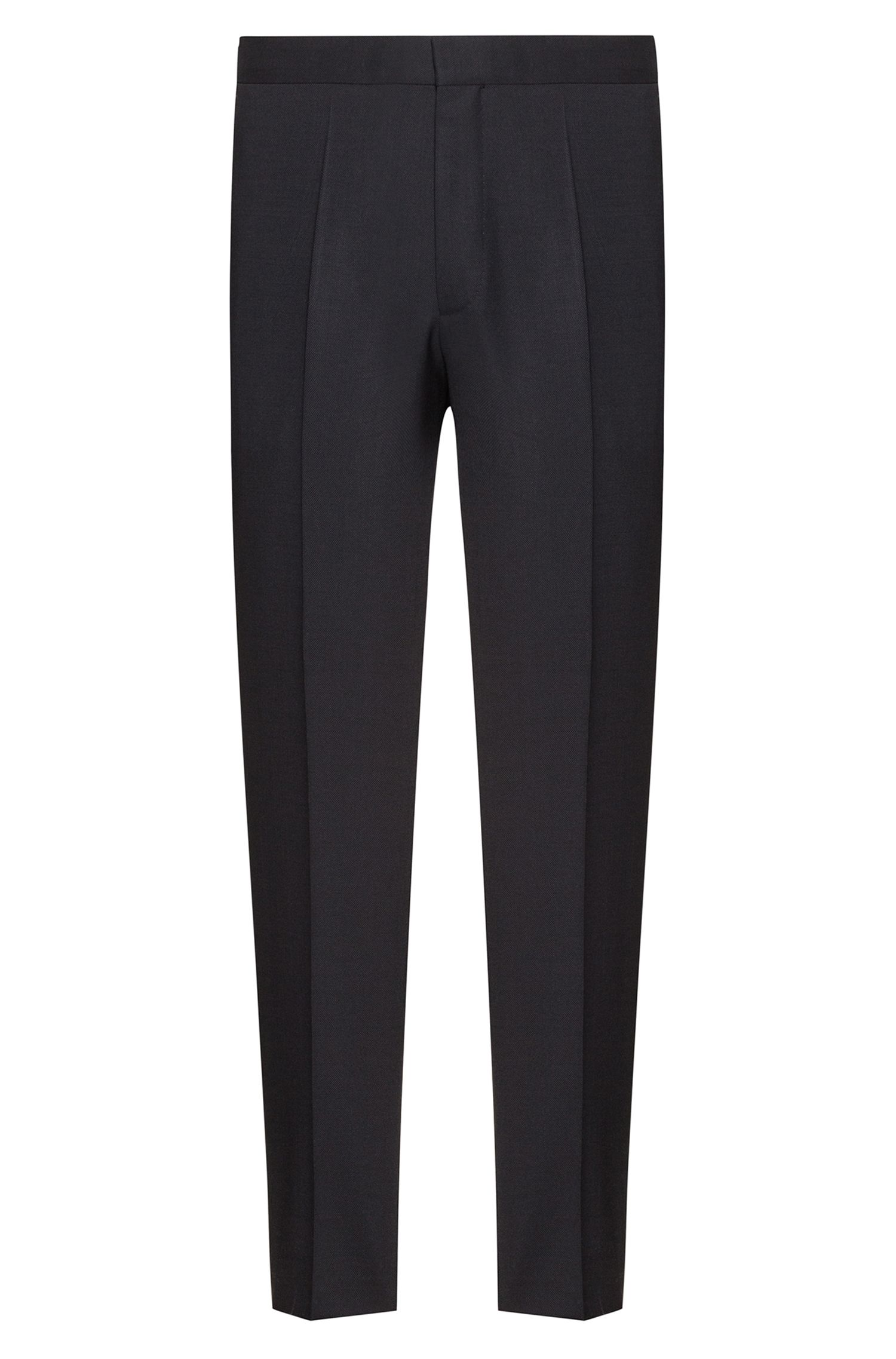 Extra-slim-fit virgin-wool trousers with cropped length, Black