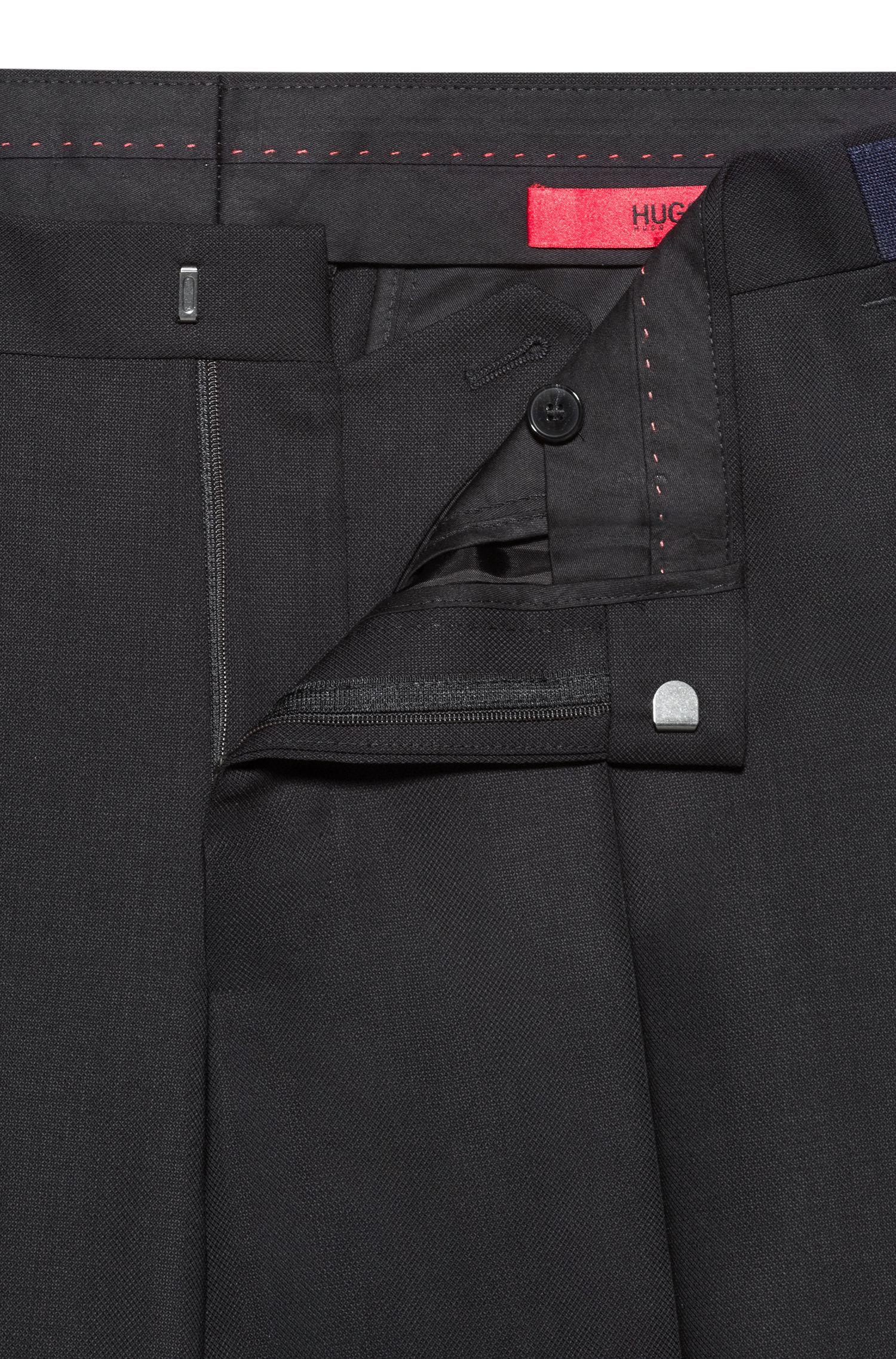 Extra Slim-Fit Hose aus Schurwolle in Cropped-Länge, Schwarz