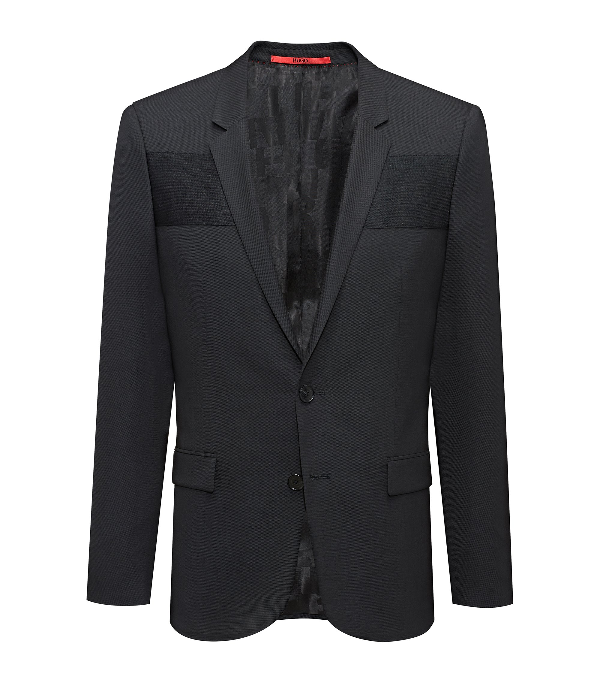 Extra-slim-fit virgin-wool blazer with ottoman panelling, Black