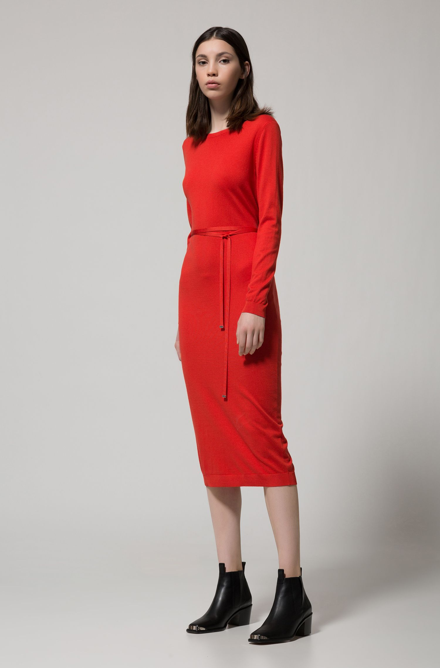Long-sleeved midi dress in a ribbed silk blend, Red