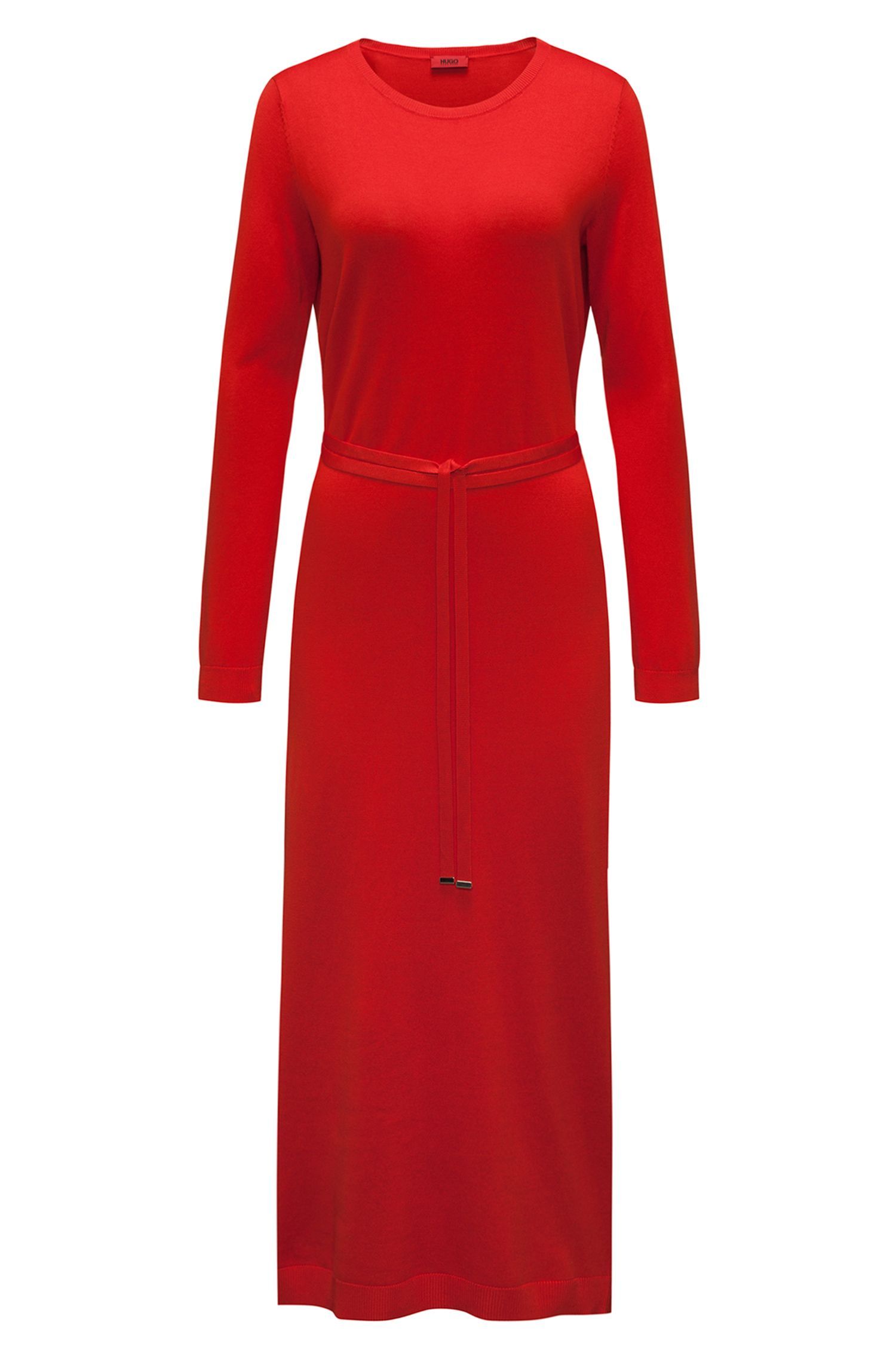 Long-sleeved midi dress in a ribbed silk blend HUGO BOSS