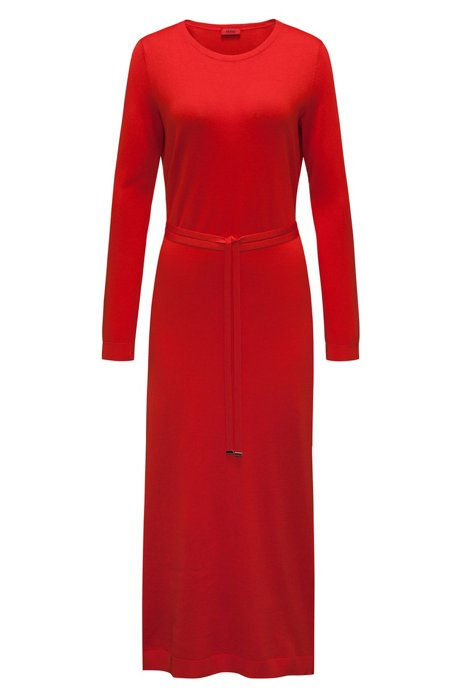 Free Shipping Inexpensive Long-sleeved midi dress in a ribbed silk blend HUGO BOSS Cheap Sale Low Cost Popular Cheap Online O4vqAyzFP