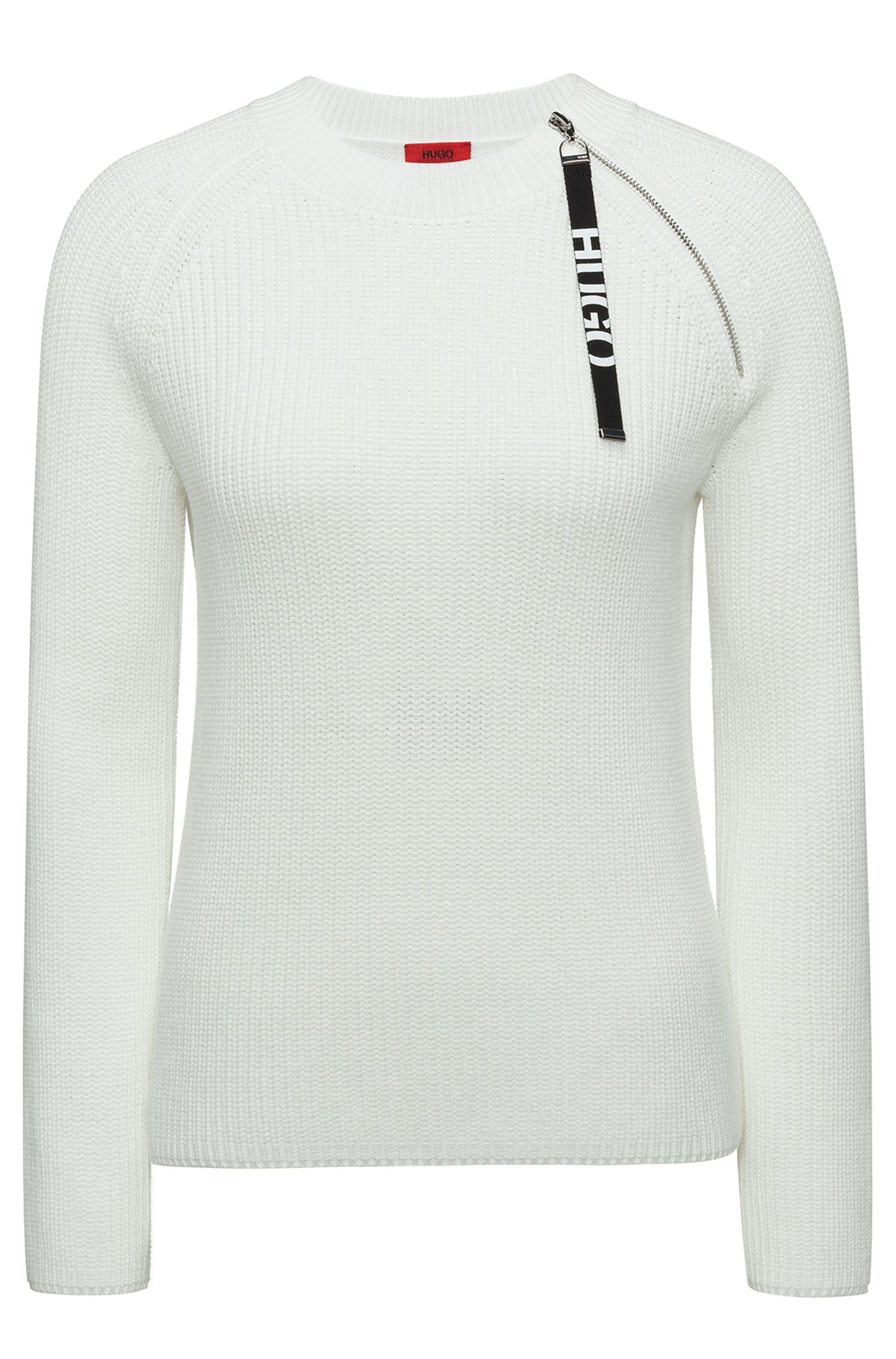 Cotton sweater with logo-tape zipped seam, Natural