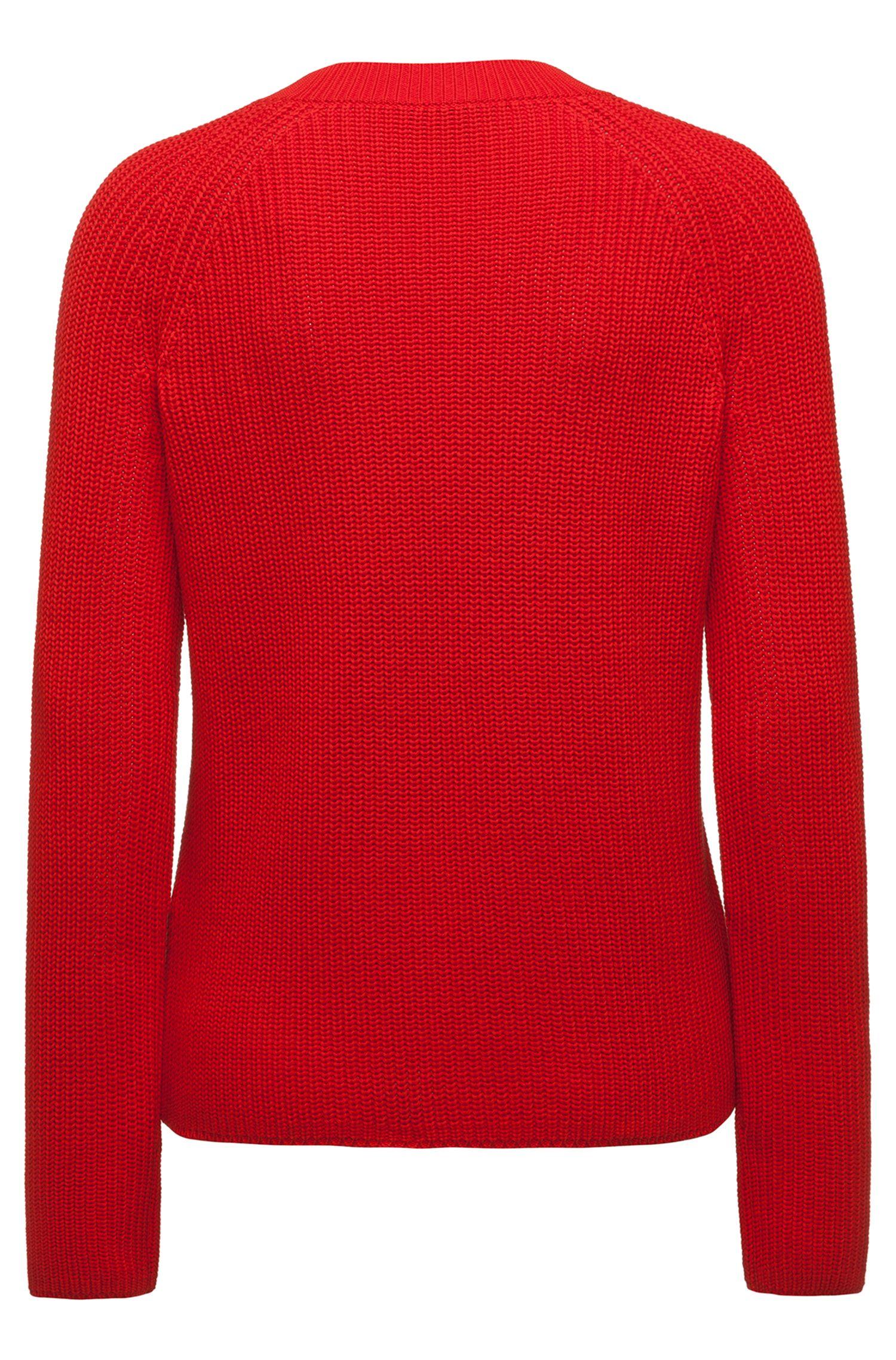 Pullover aus Baumwolle mit Reißverschluss-Detail und Logo-Band, Rot
