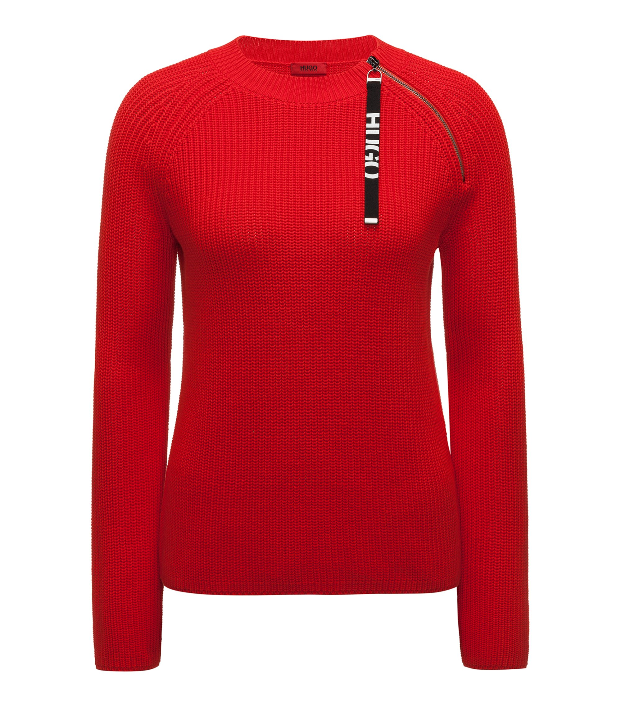 Pull en coton avec bande logo et fermeture éclair prise dans la couture, Rouge