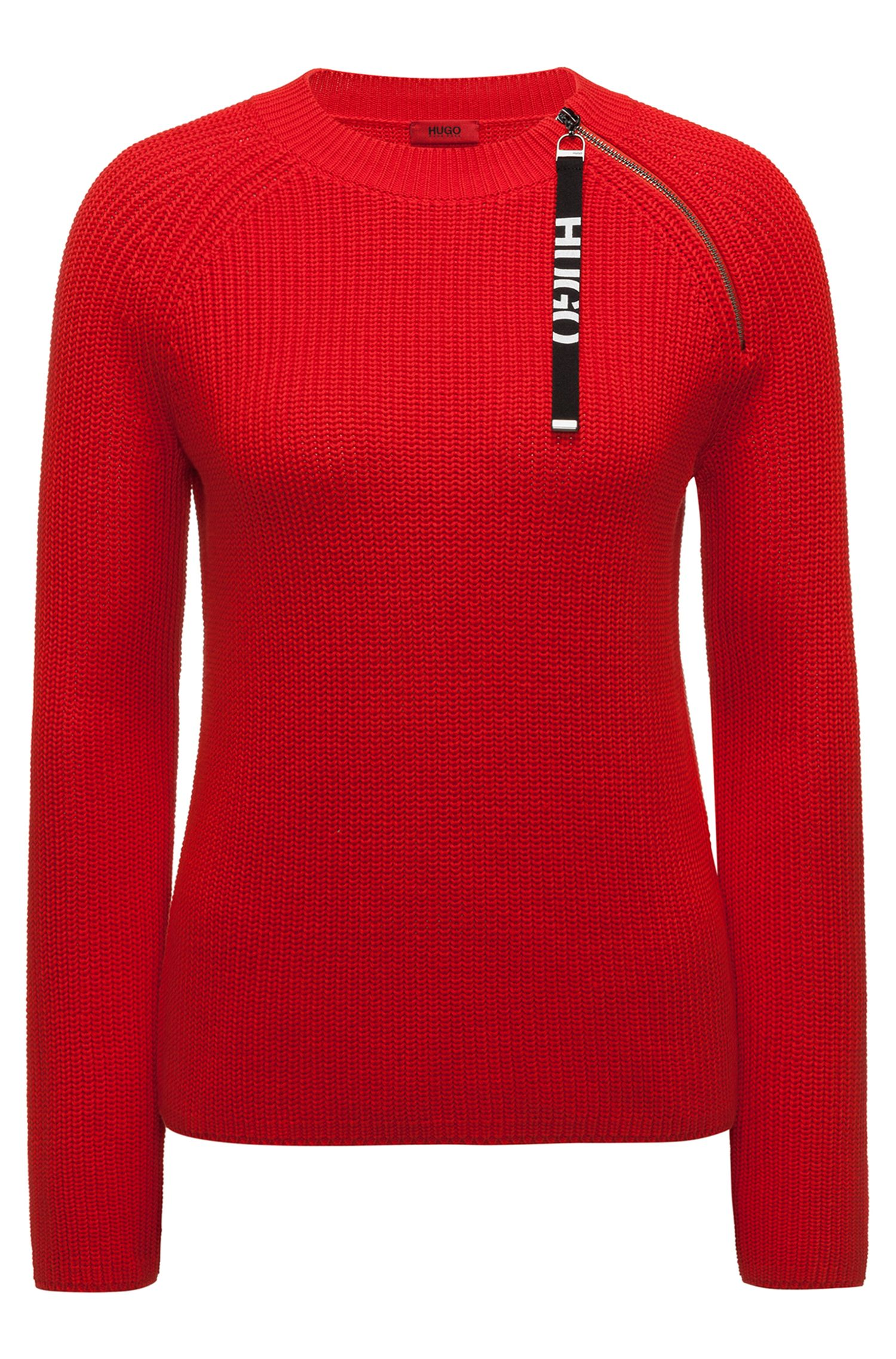 Cotton sweater with logo-tape zipped seam