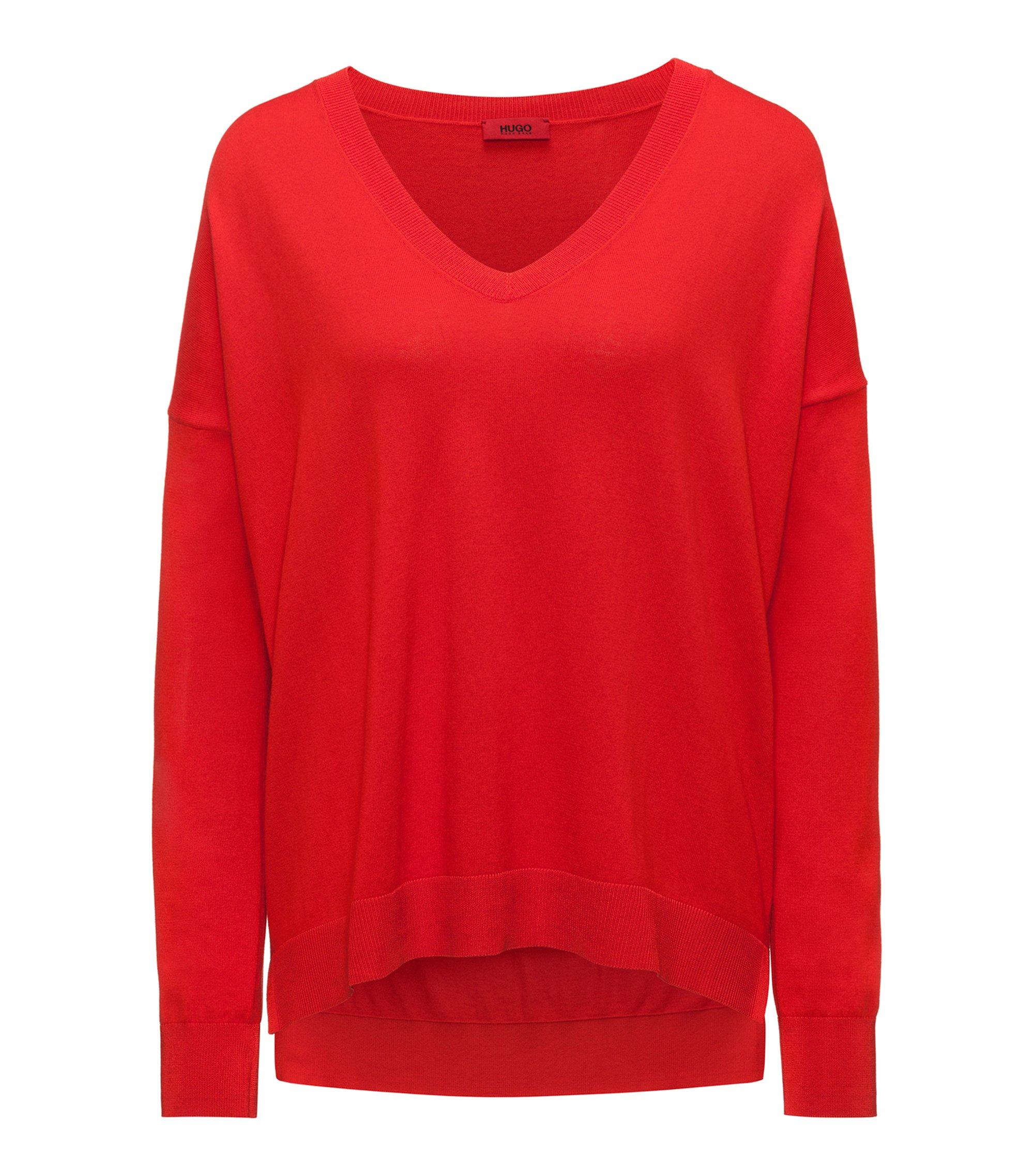 Oversized Pullover aus Seiden-Mix mit V-Ausschnitt, Rot