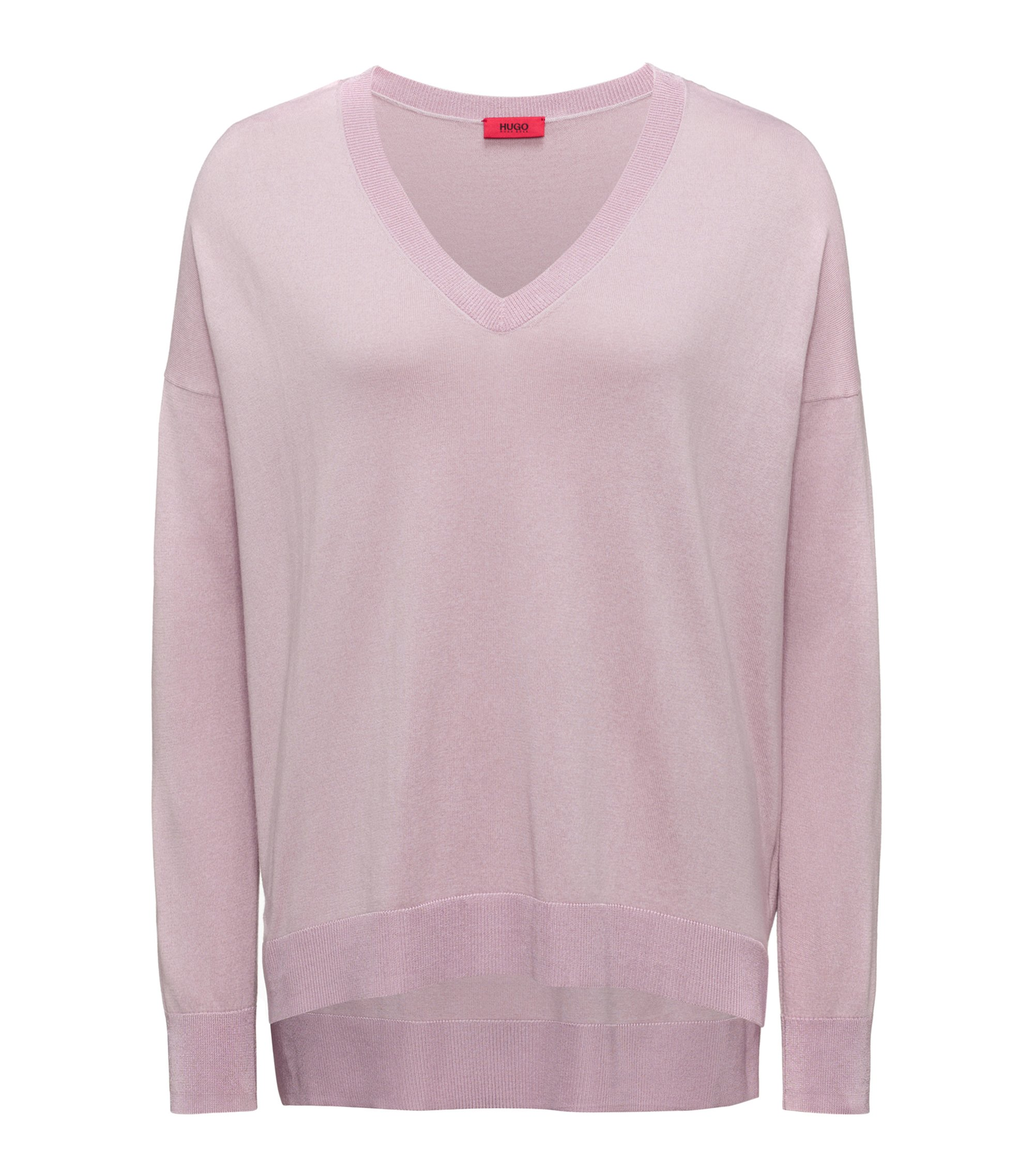 Oversized-fit V-neck sweater in a silk blend, light pink