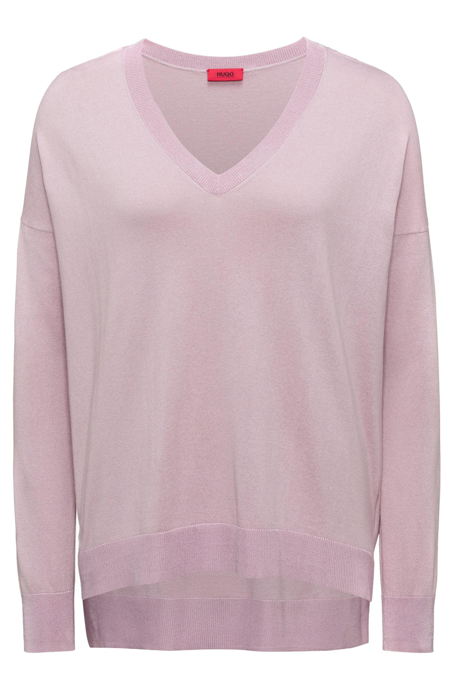 Oversized-fit V-neck sweater in a silk blend, light pink