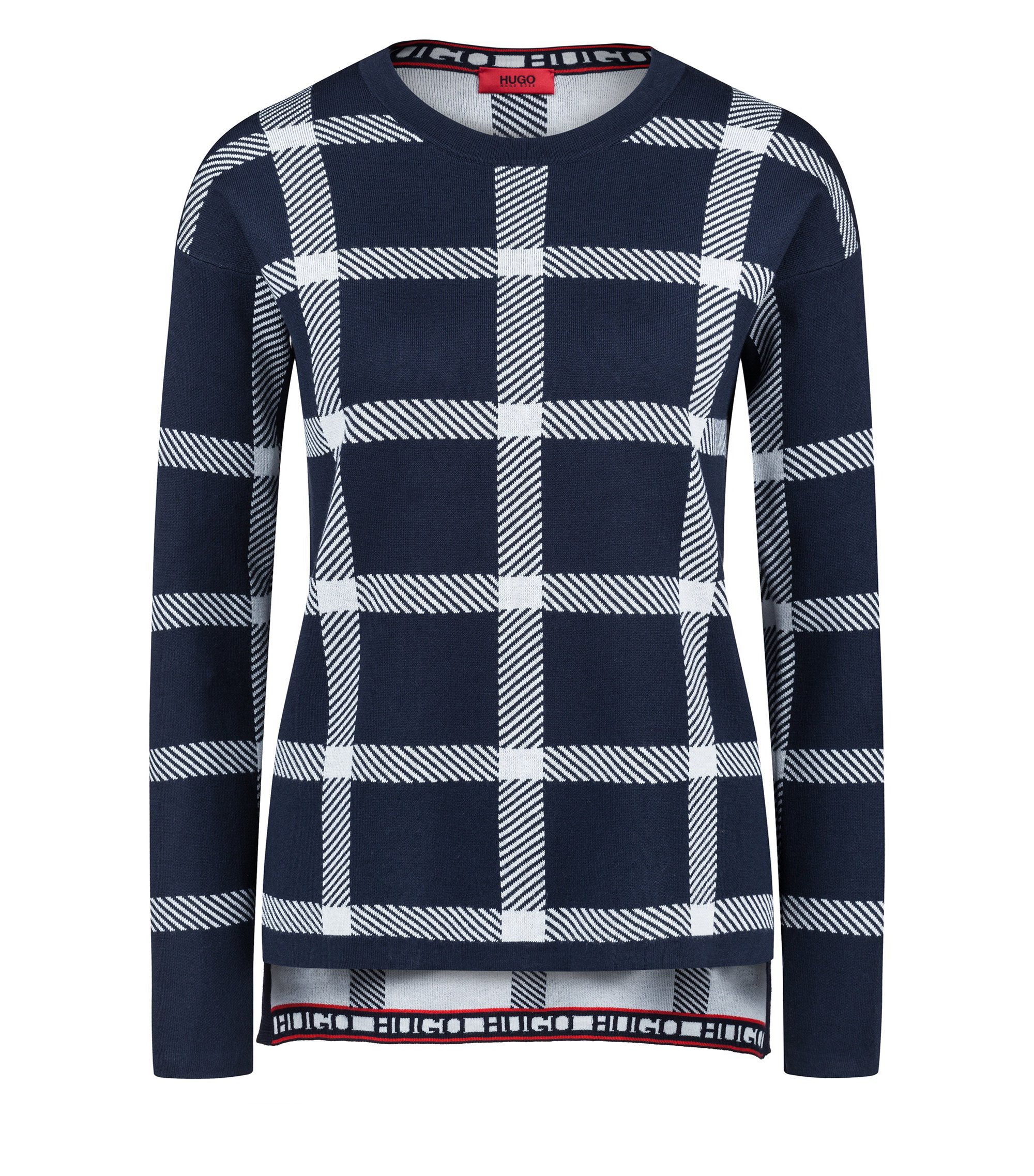 Relaxed-fit checked sweater in a stretch-cotton blend, Patterned