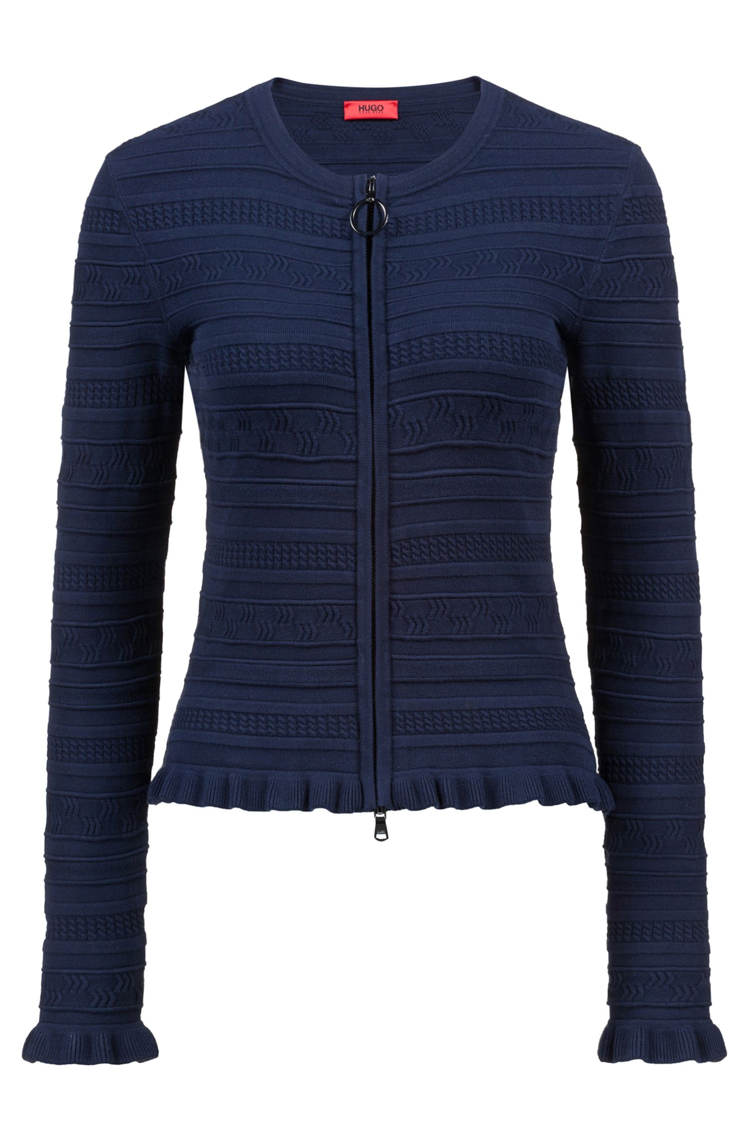 Zipped knitted cardigan with three-dimensional structure, Dark Blue
