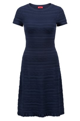 Stretch-denim dress with bell cuffs and ribbon belt BOSS 2laMI7vY2R
